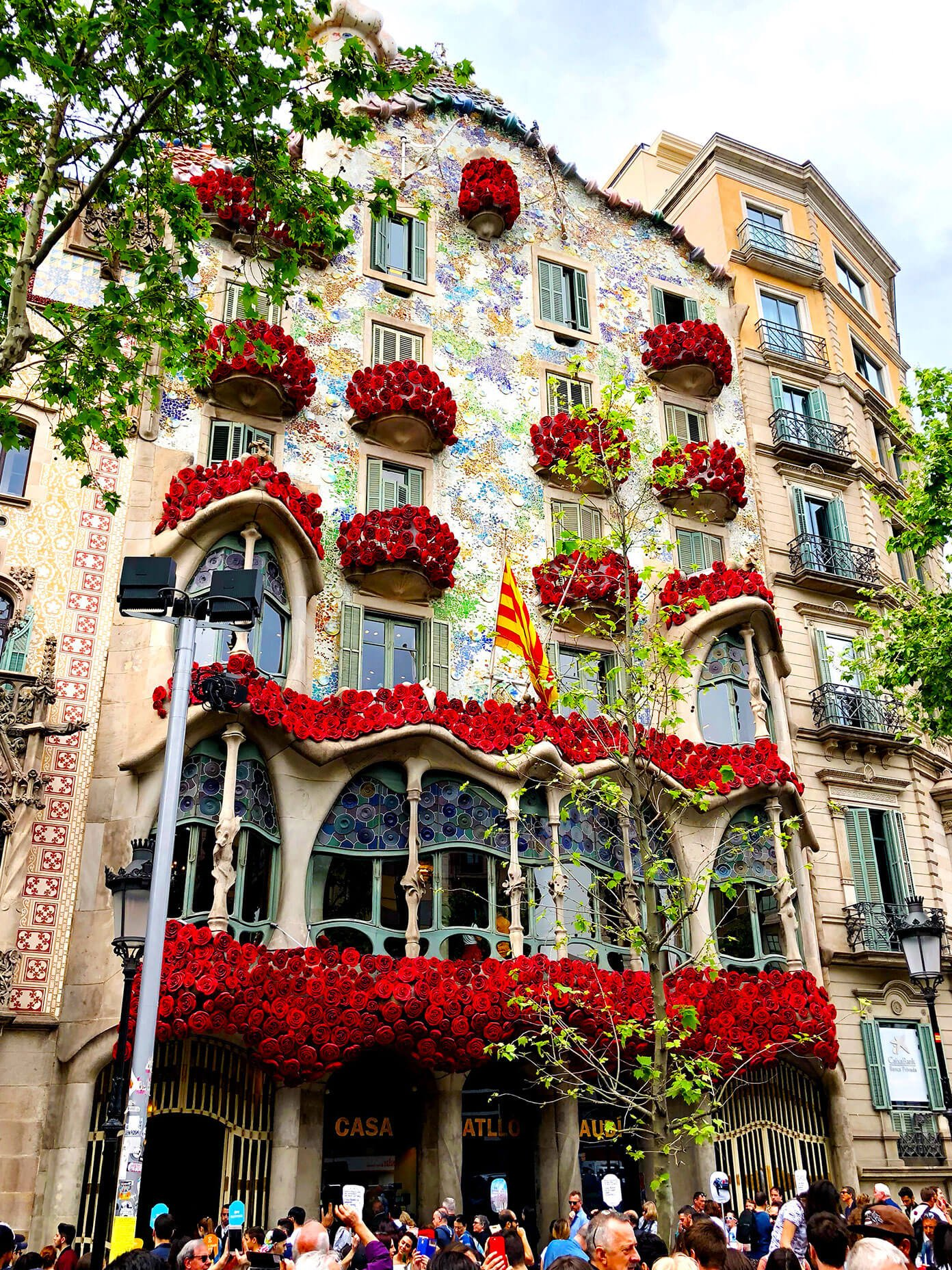 Casa Battlo in Barcelona on Sant Jordi Day
