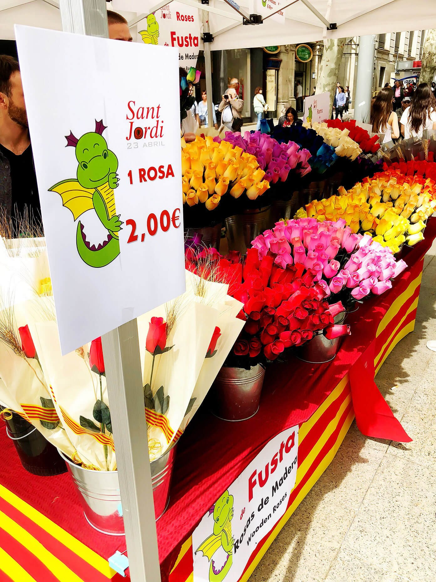 Roses for Sant Jordi in Barcelona