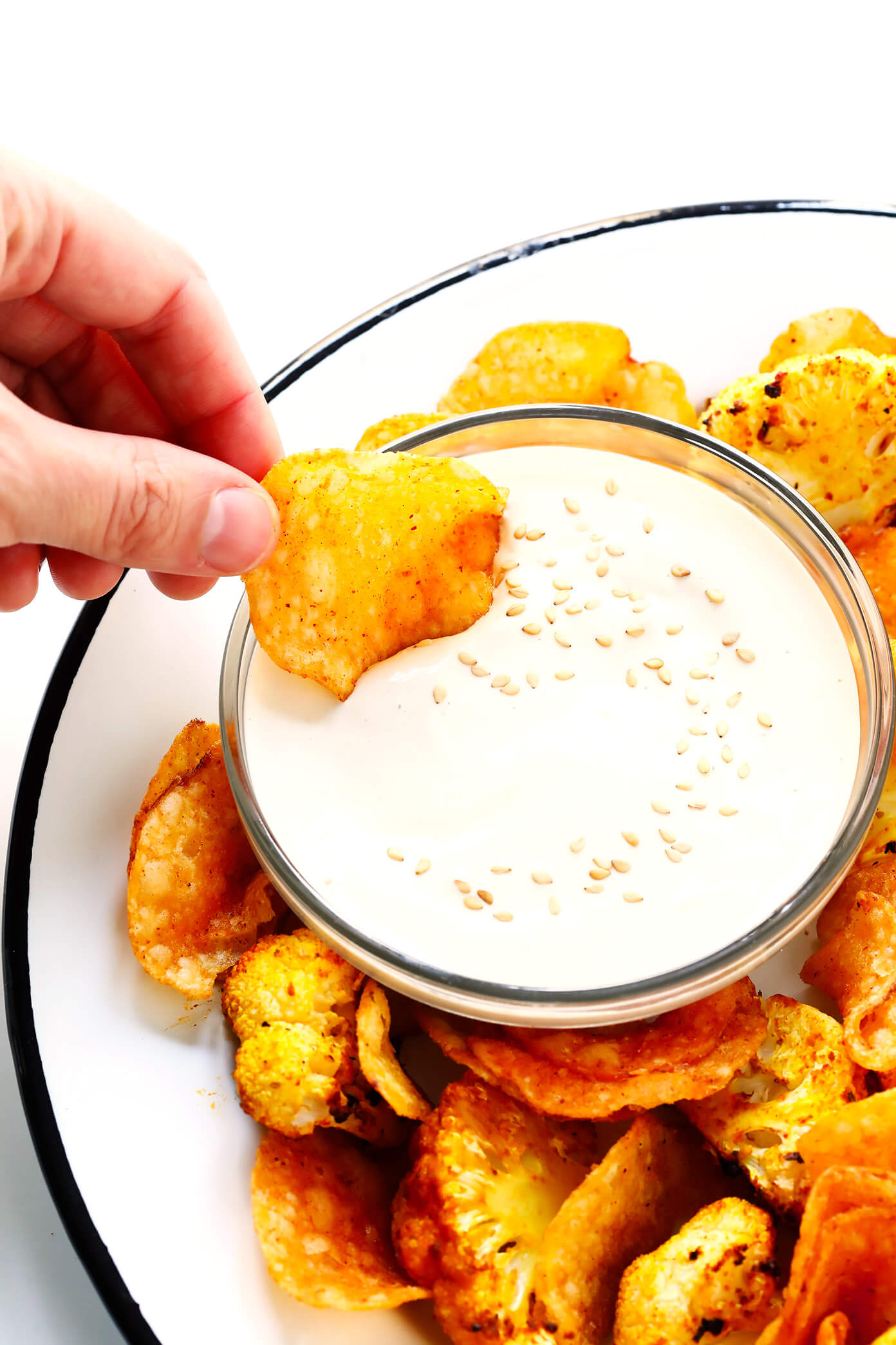5-Minute Dreamy Tahini Dip with Roasted Cauliflower and Kettle Chips