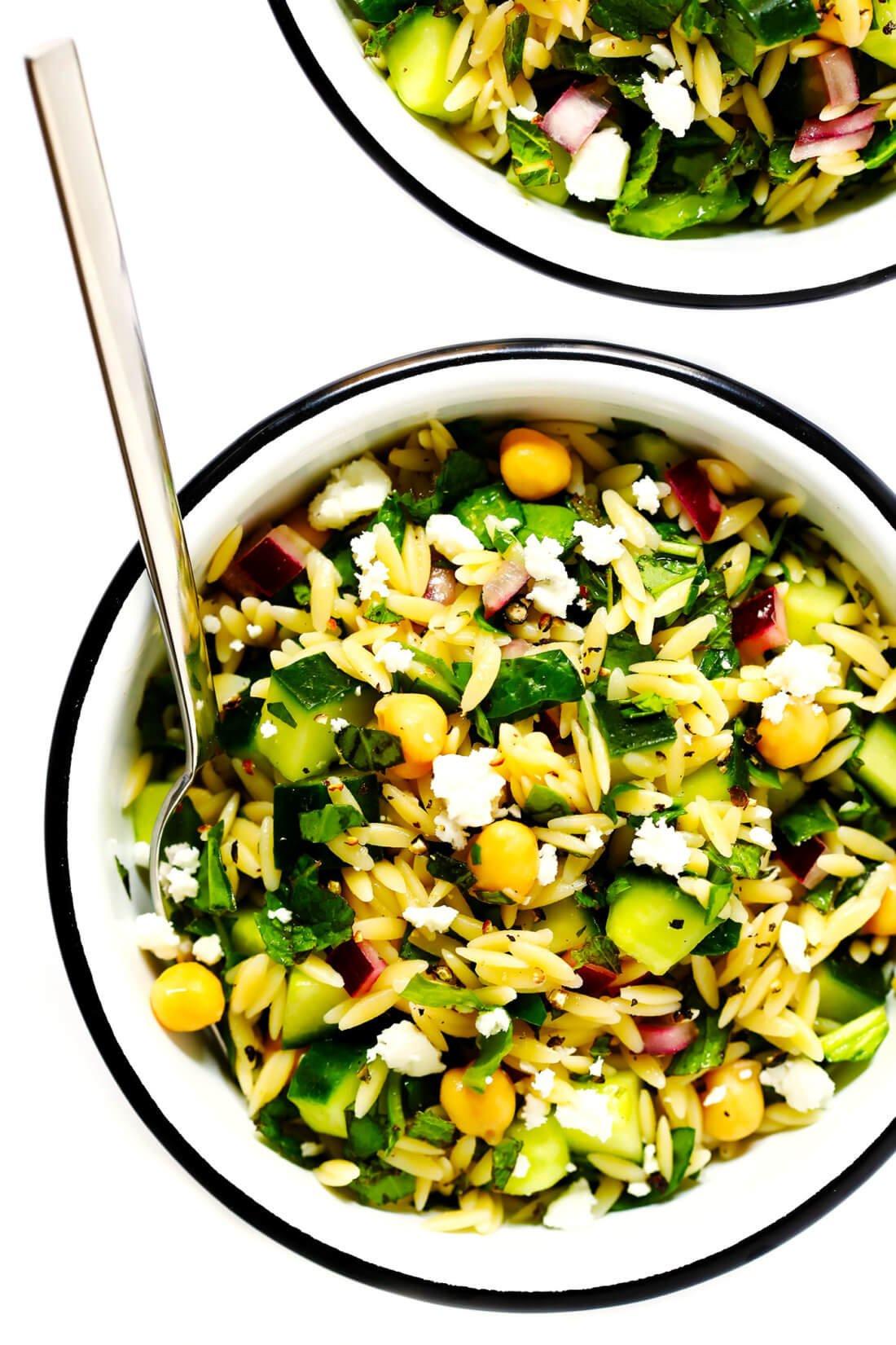 Lemon Orzo Chickpea Pasta Salad Recipe