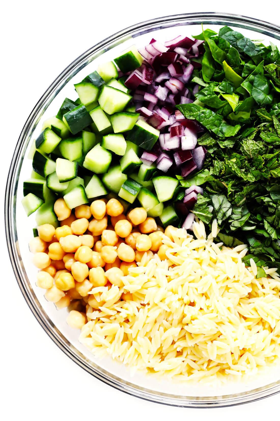 Lemon Orzo Pasta Salad Ingredients