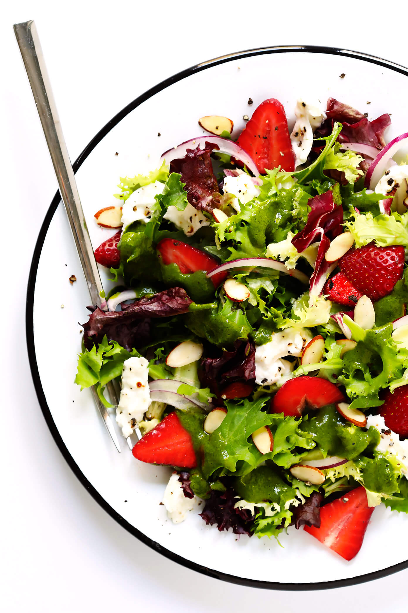 Strawberry Burrata Salad with Basil Vinaigrette