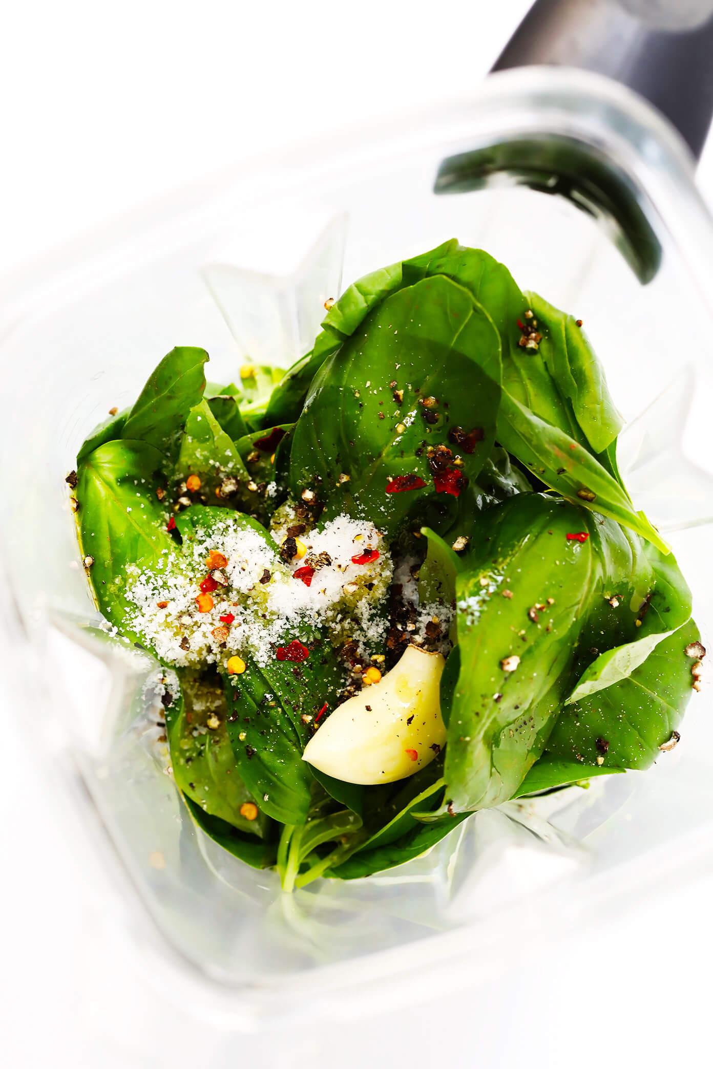 Basil Vinaigrette Ingredients in Blender
