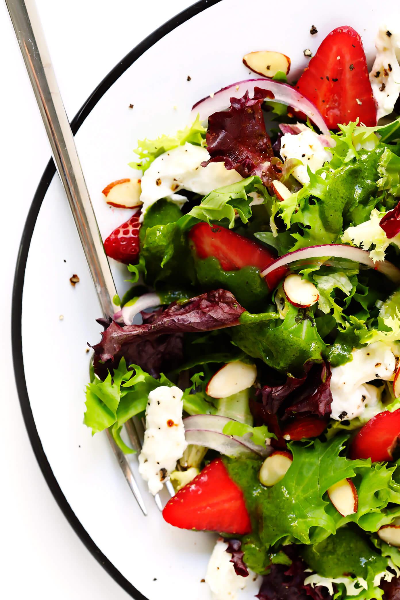 Strawberry Salad with Burrata and Basil Vinaigrette