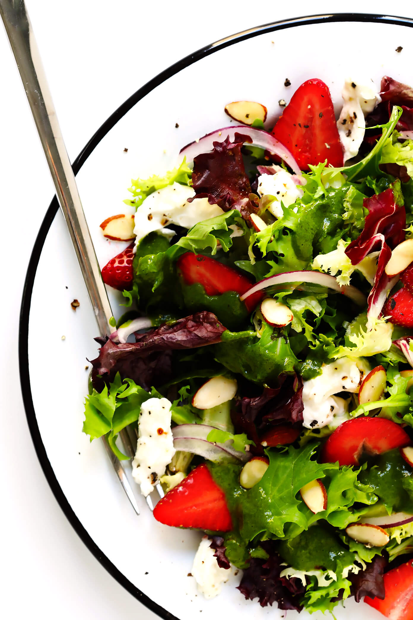 Strawberry Burrata Salad with Fresh Basil Vinaigrette