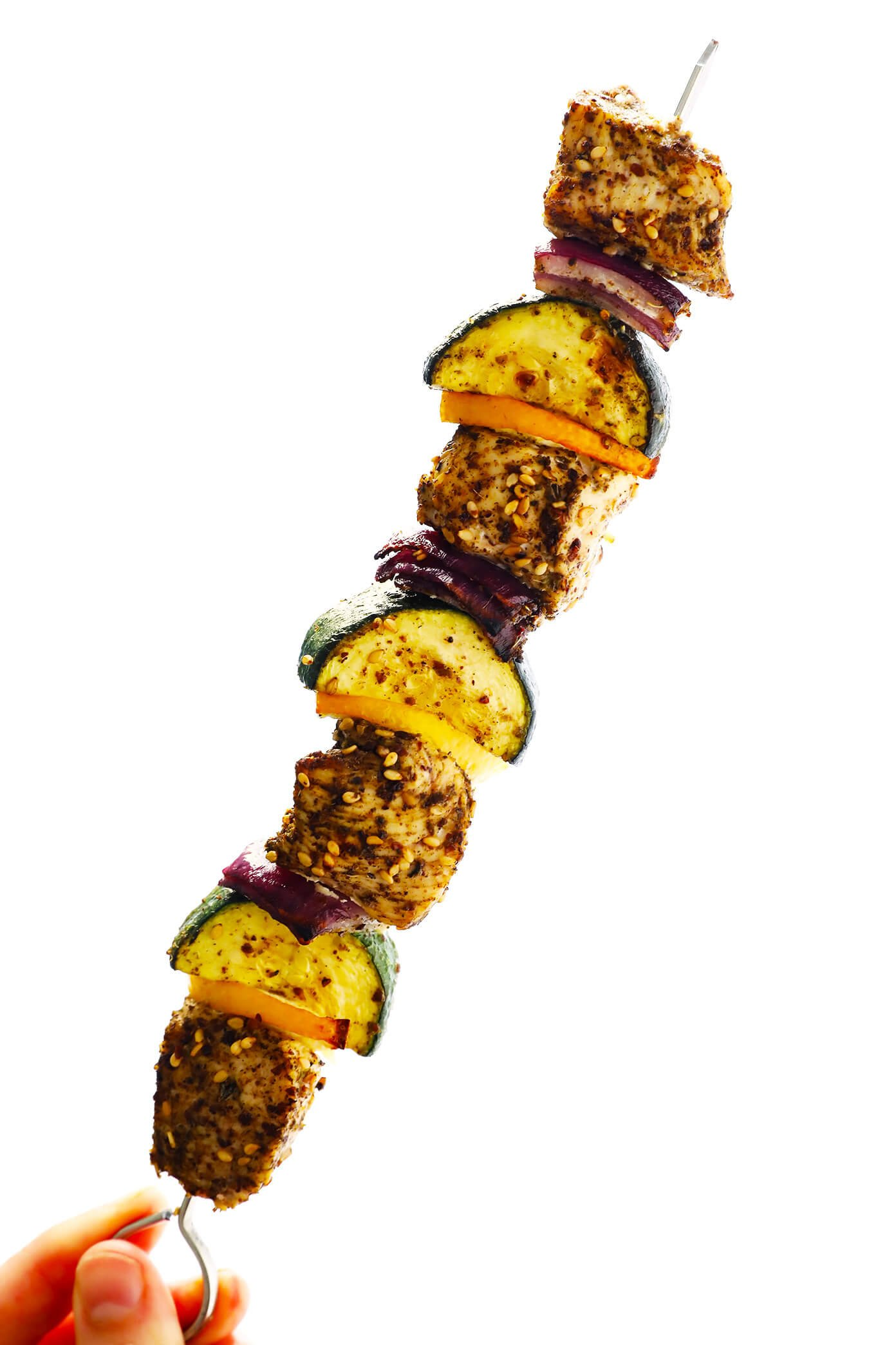 Za'atar Chicken, Zucchini, Onion and Lemon Kabobs