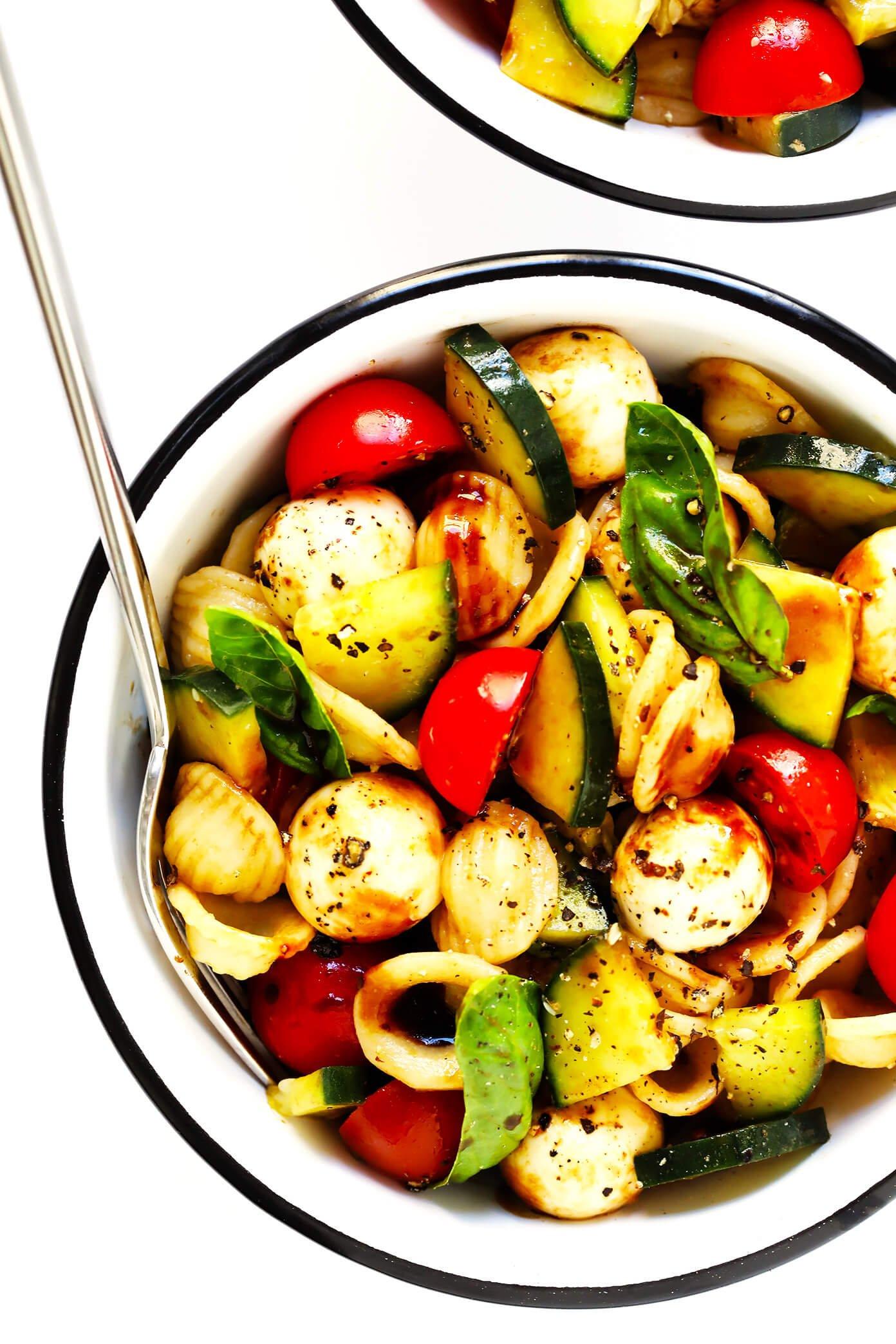 Cucumber Caprese Pasta Salad Recipe