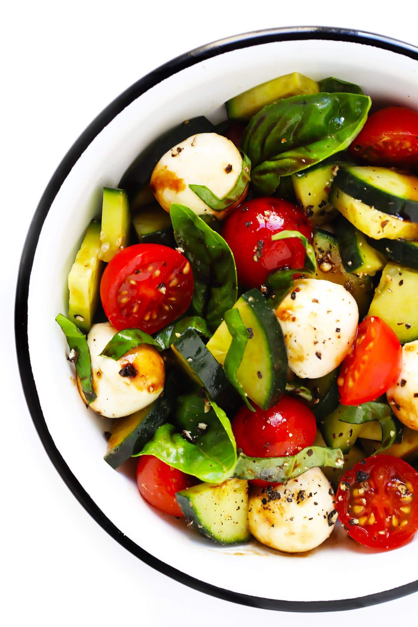Quick Cucumber Caprese Salad