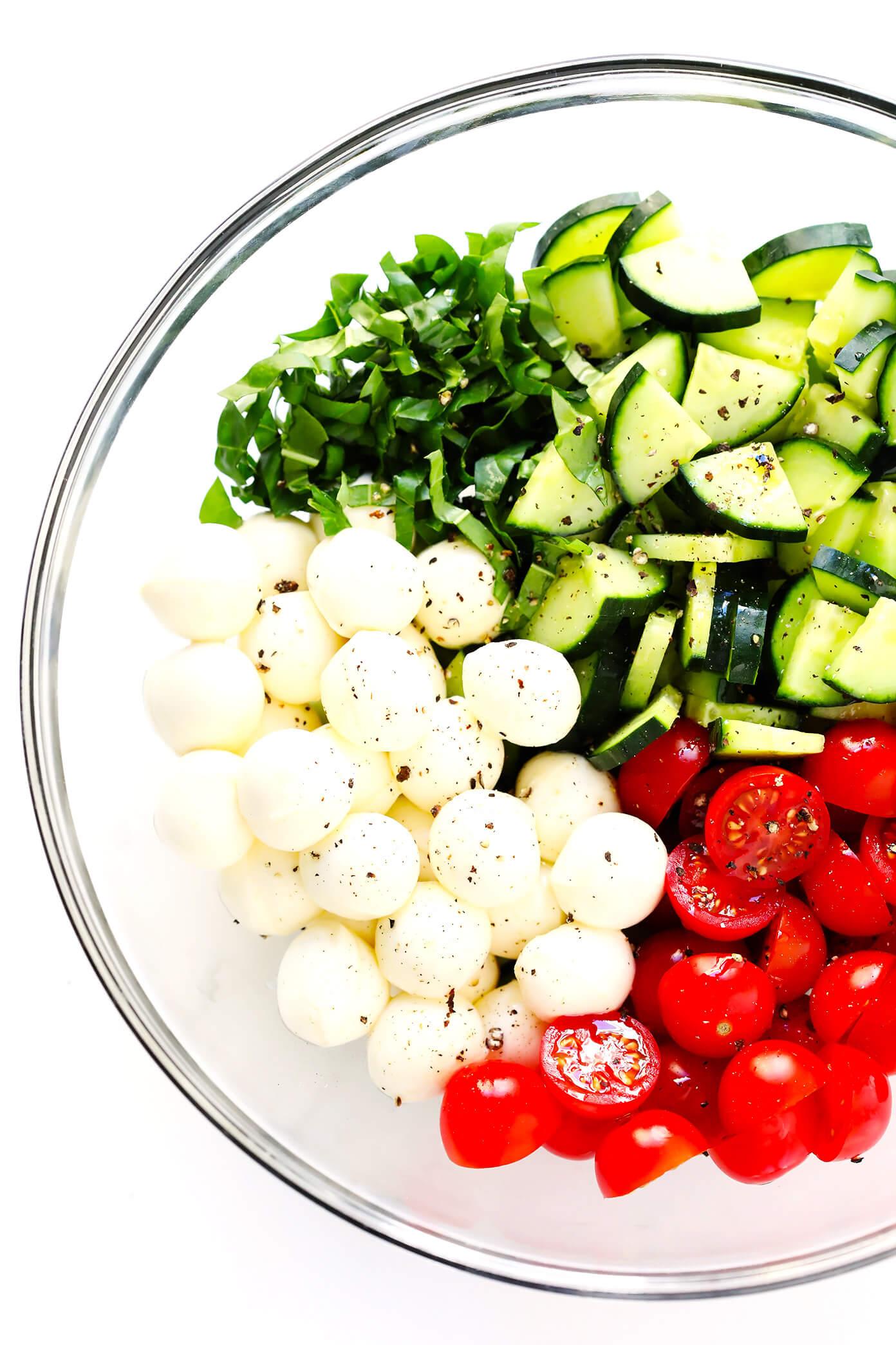Caprese Cucumber Salad Ingredients