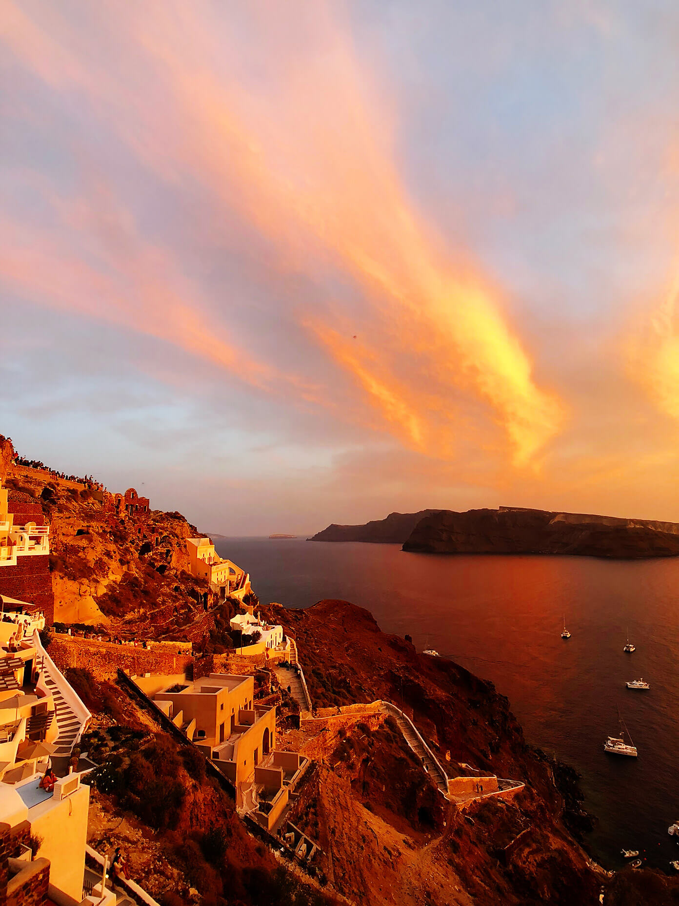 Fiery Sunset Views in Oia Santorini Greece