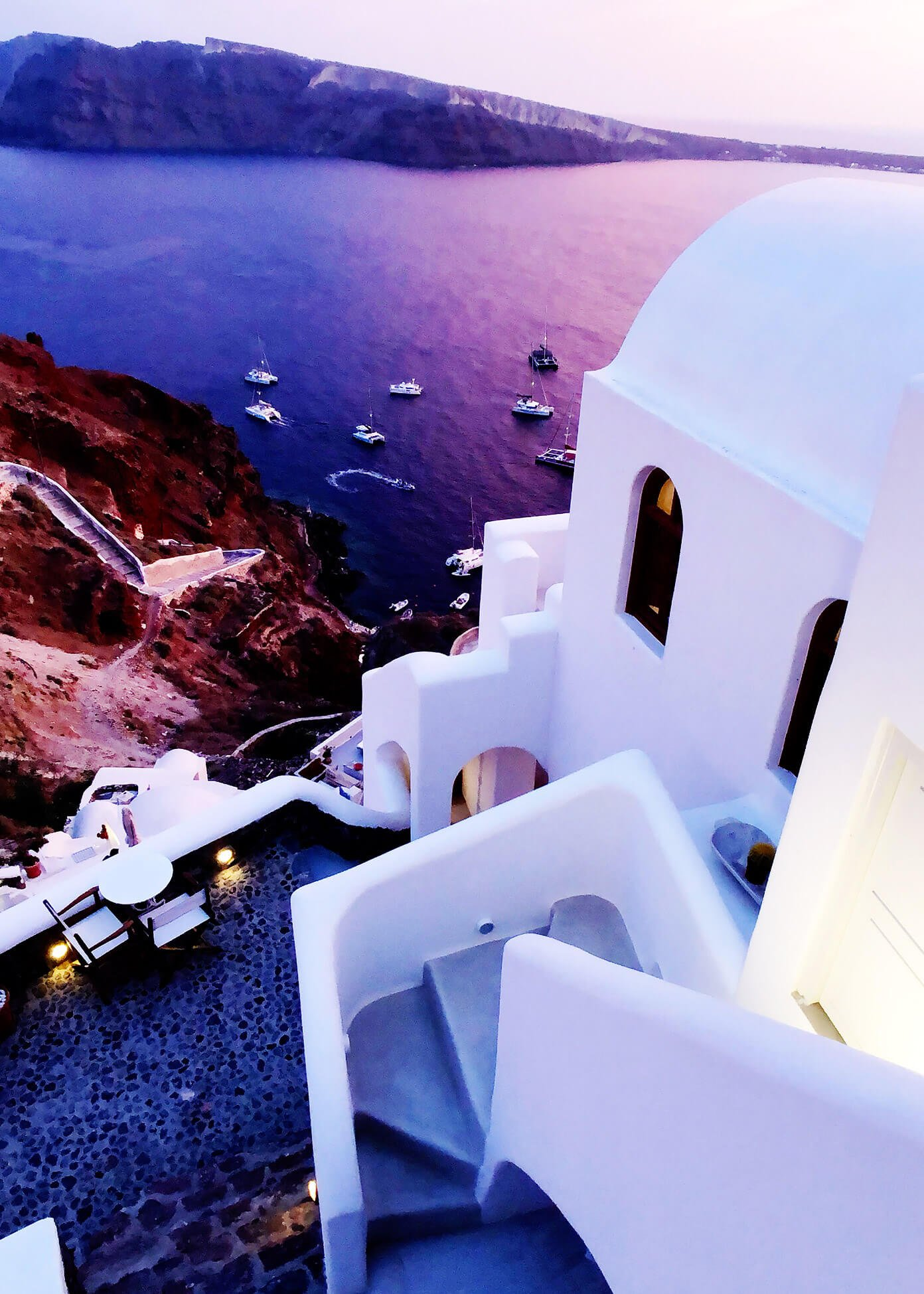 Sunset at Oia Mare Villas in Santorini Greece