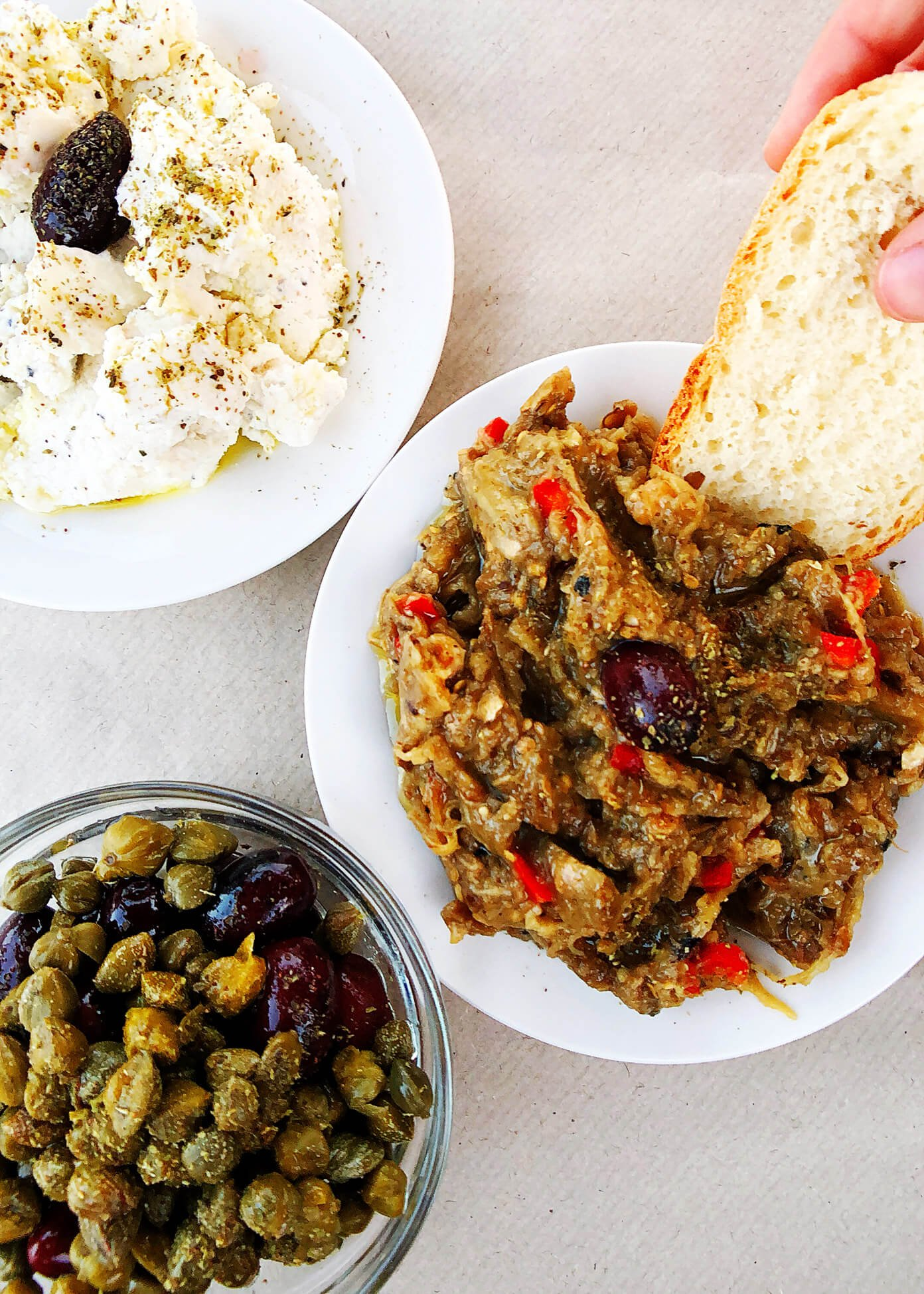 Greek Appetizer Dips with Bread in Folegandros, Greece