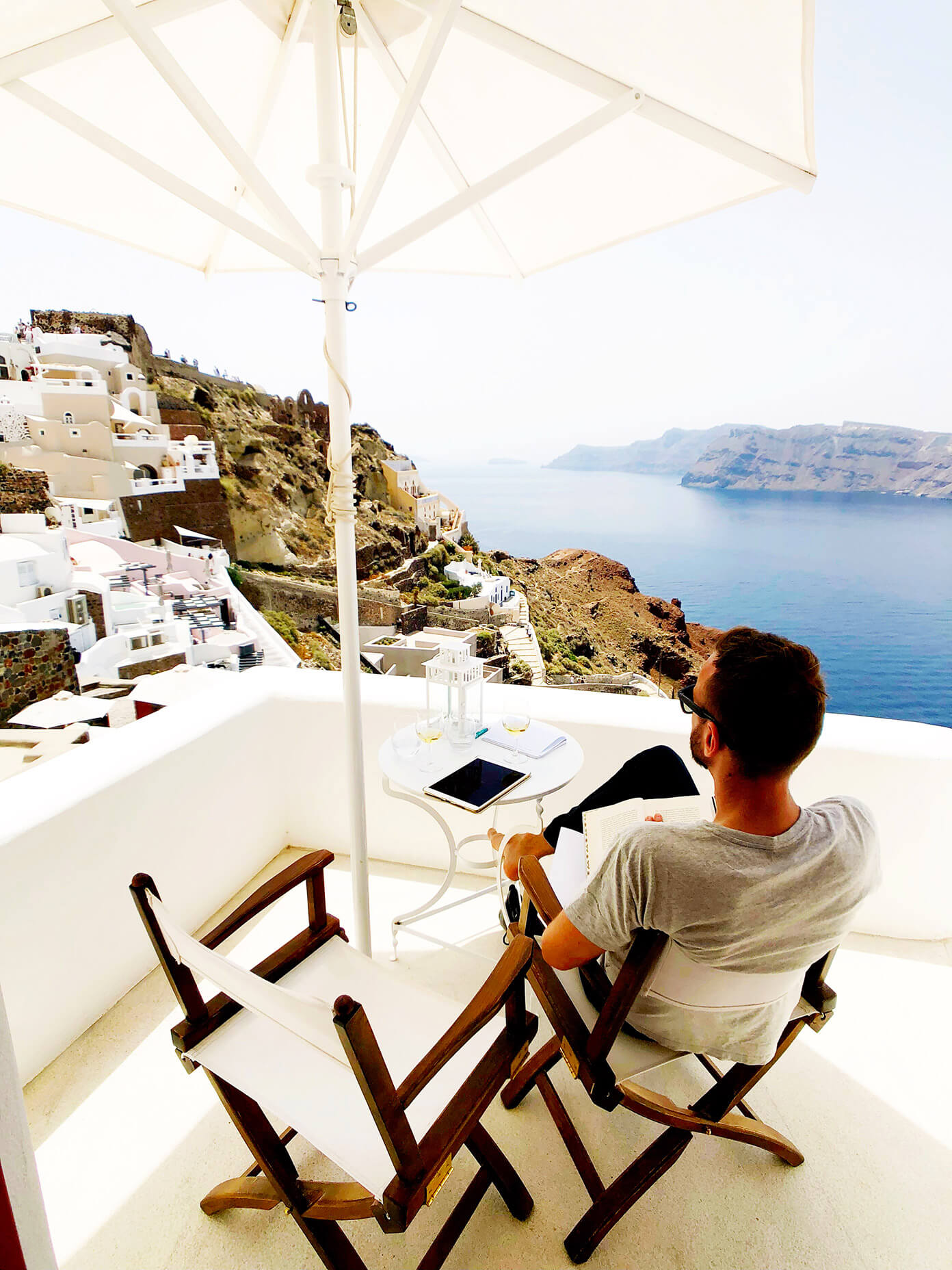 Hotel Balcony at Oia Mare Villas in Santorini Greece