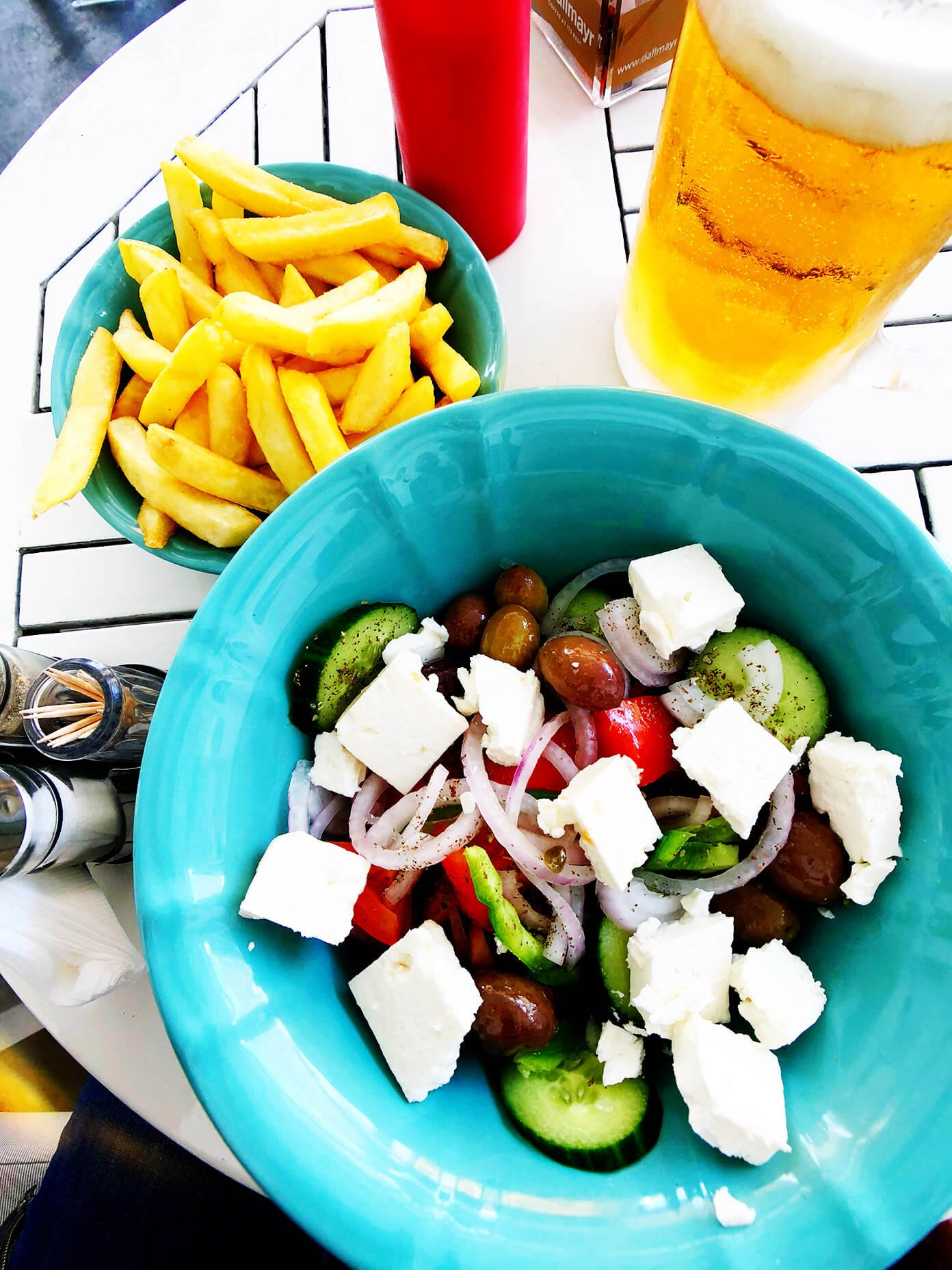 Greek Salad, Fries and Beer in Santorini, Greece