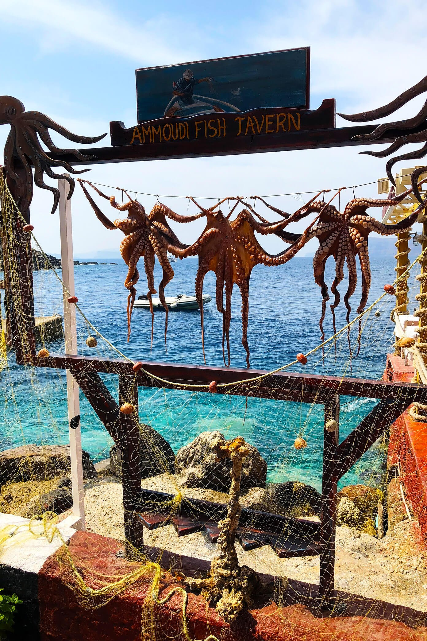 Ammoudi Fish Tavern in Santorini, Greece