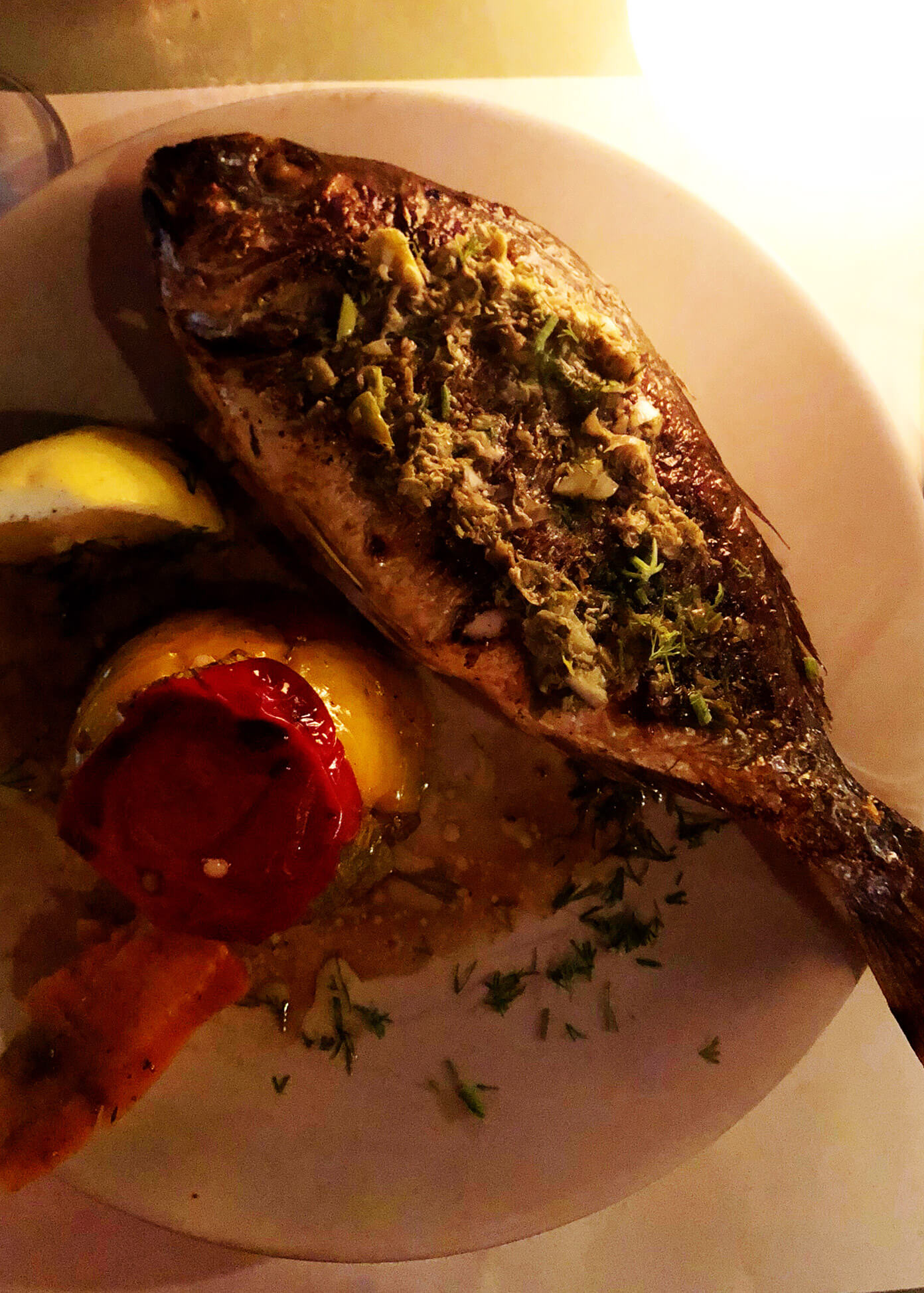 Fish at Karma Restaurant in Oia Santorini Greece