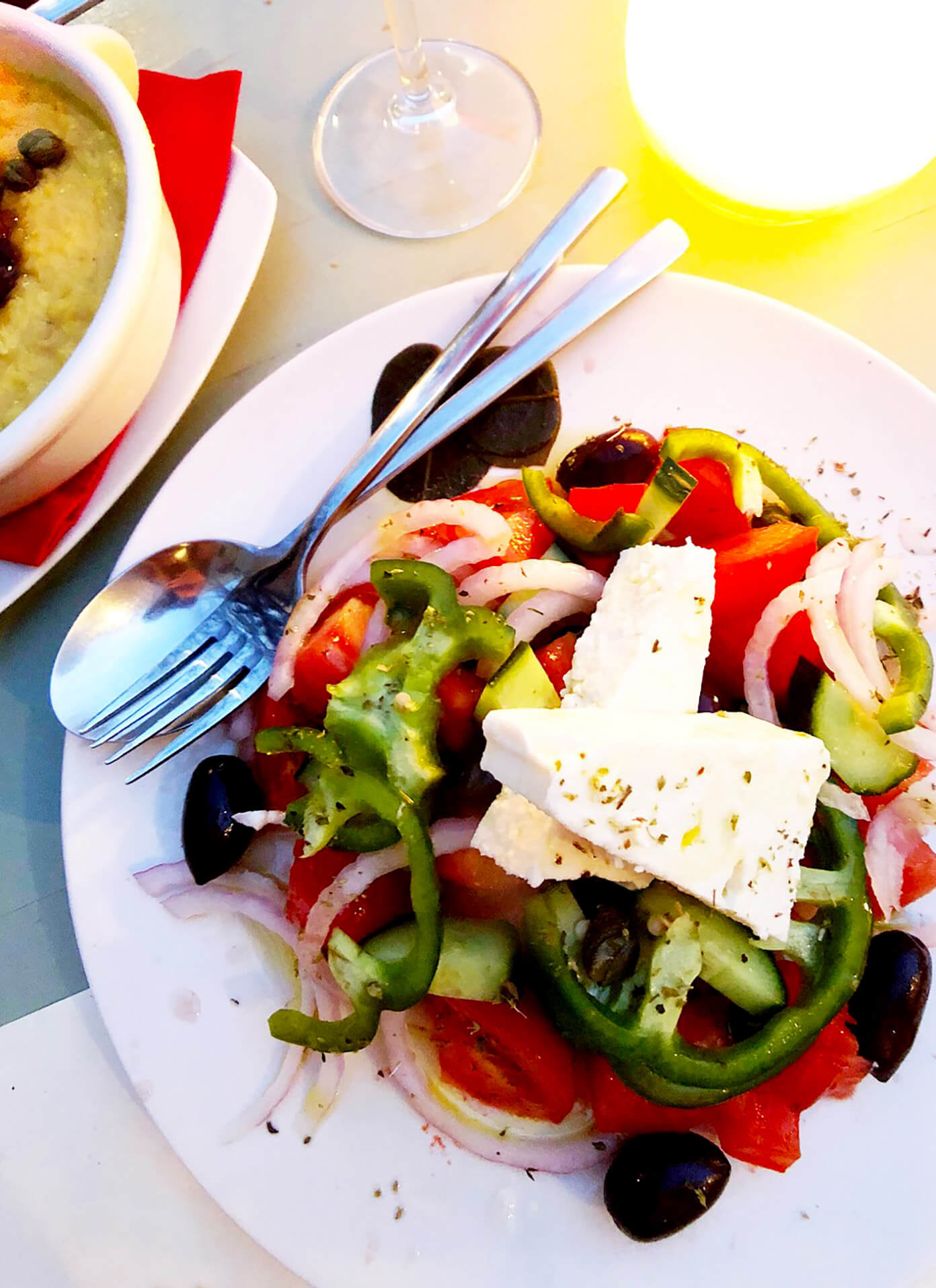 Gorgeous Greek Salad at Karma Restaurant in Santorini, Greece