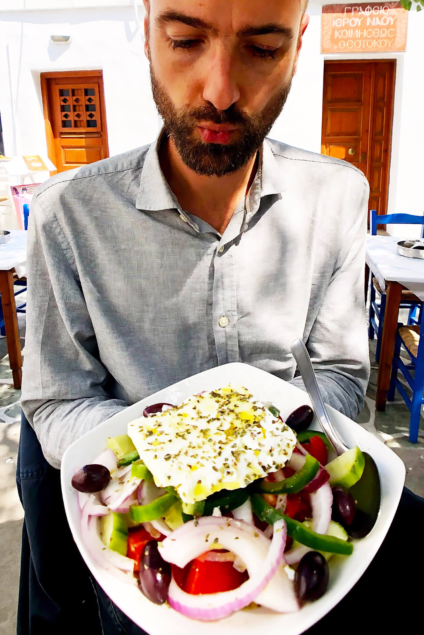 Greek Salad at Souvlaki Club in Folegandros, Greece