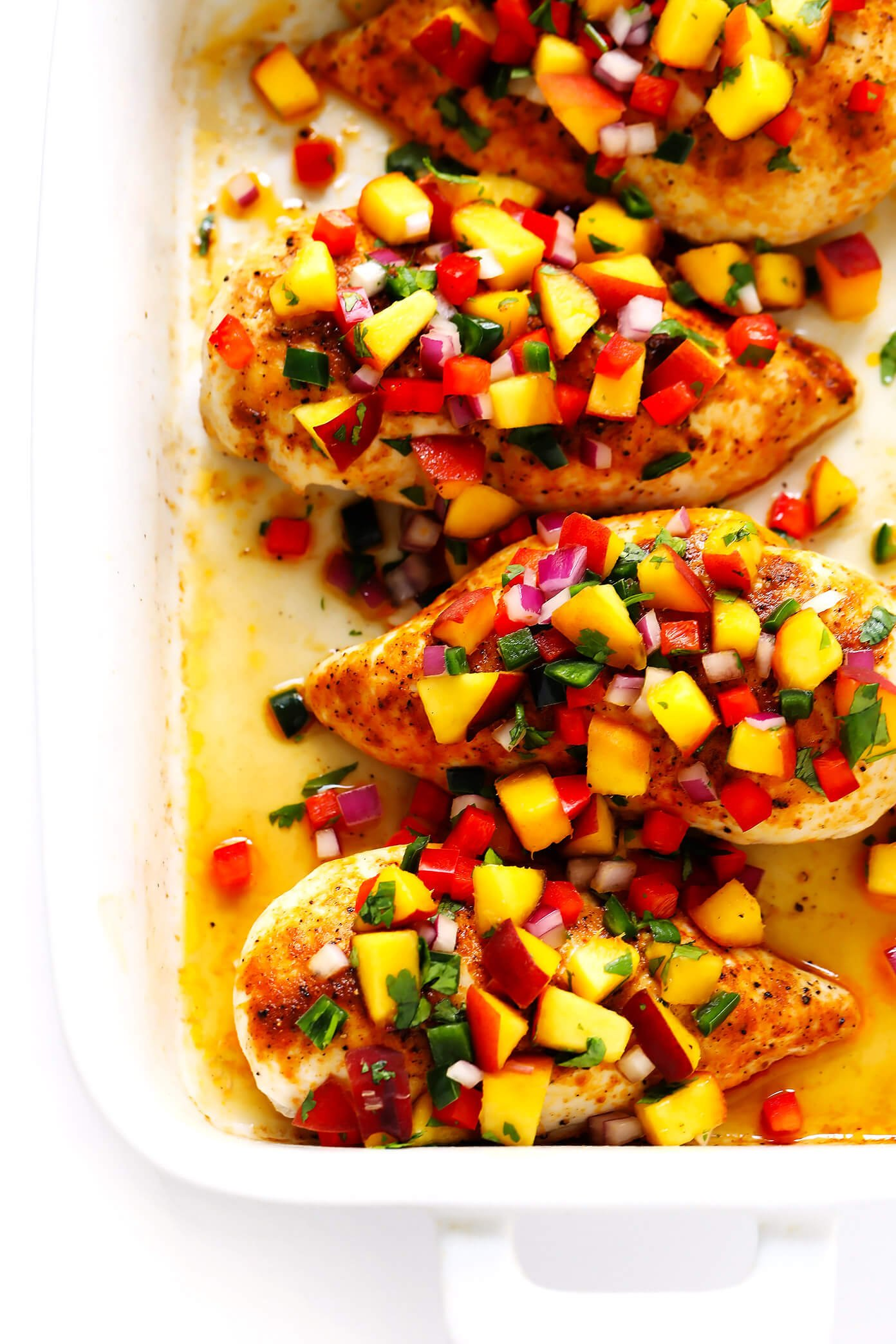 Ginger Baked Chicken with Peach Salsa Recipe