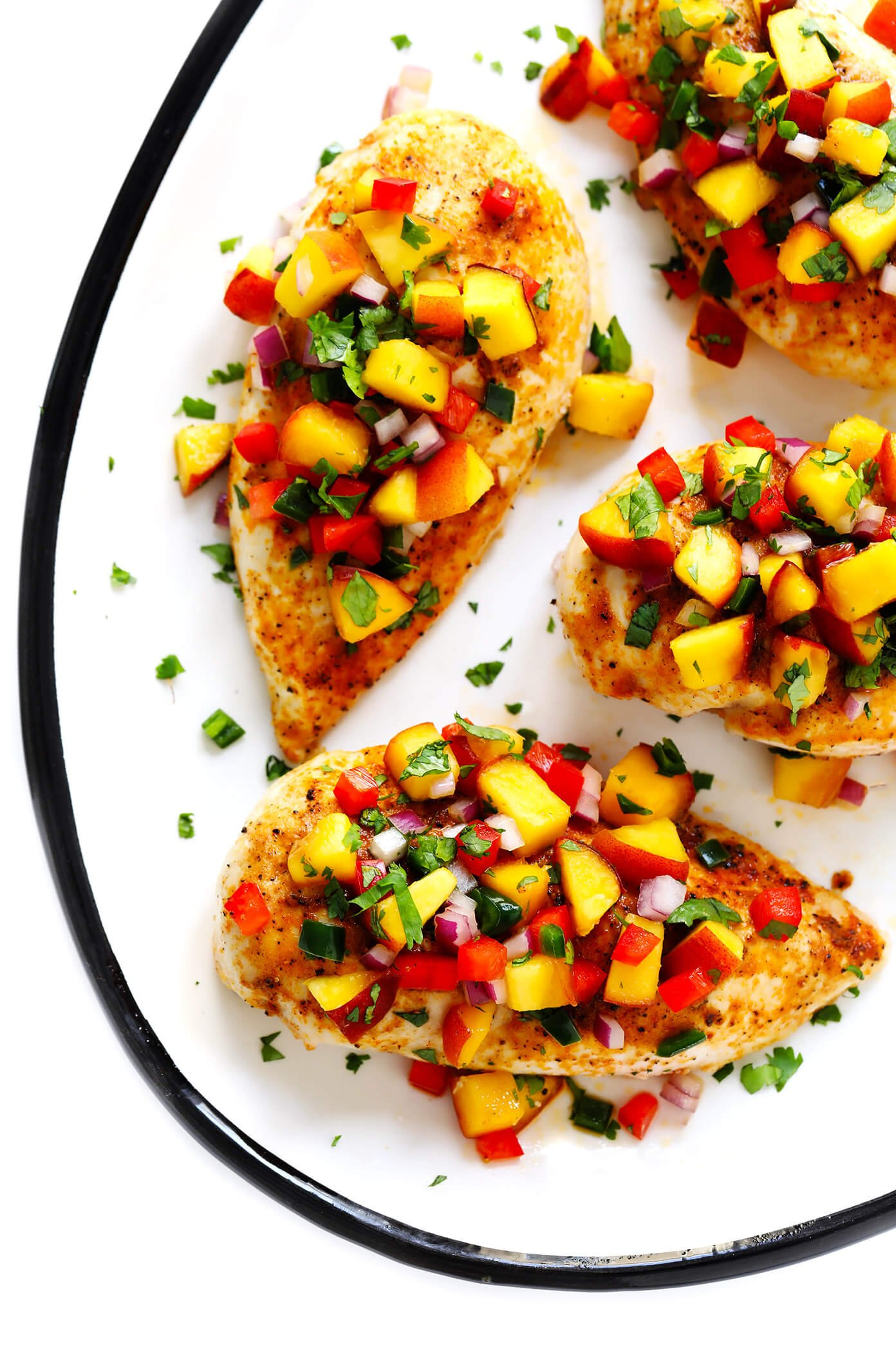 Baked Ginger Chicken Breasts with Confetti Peach Salsa