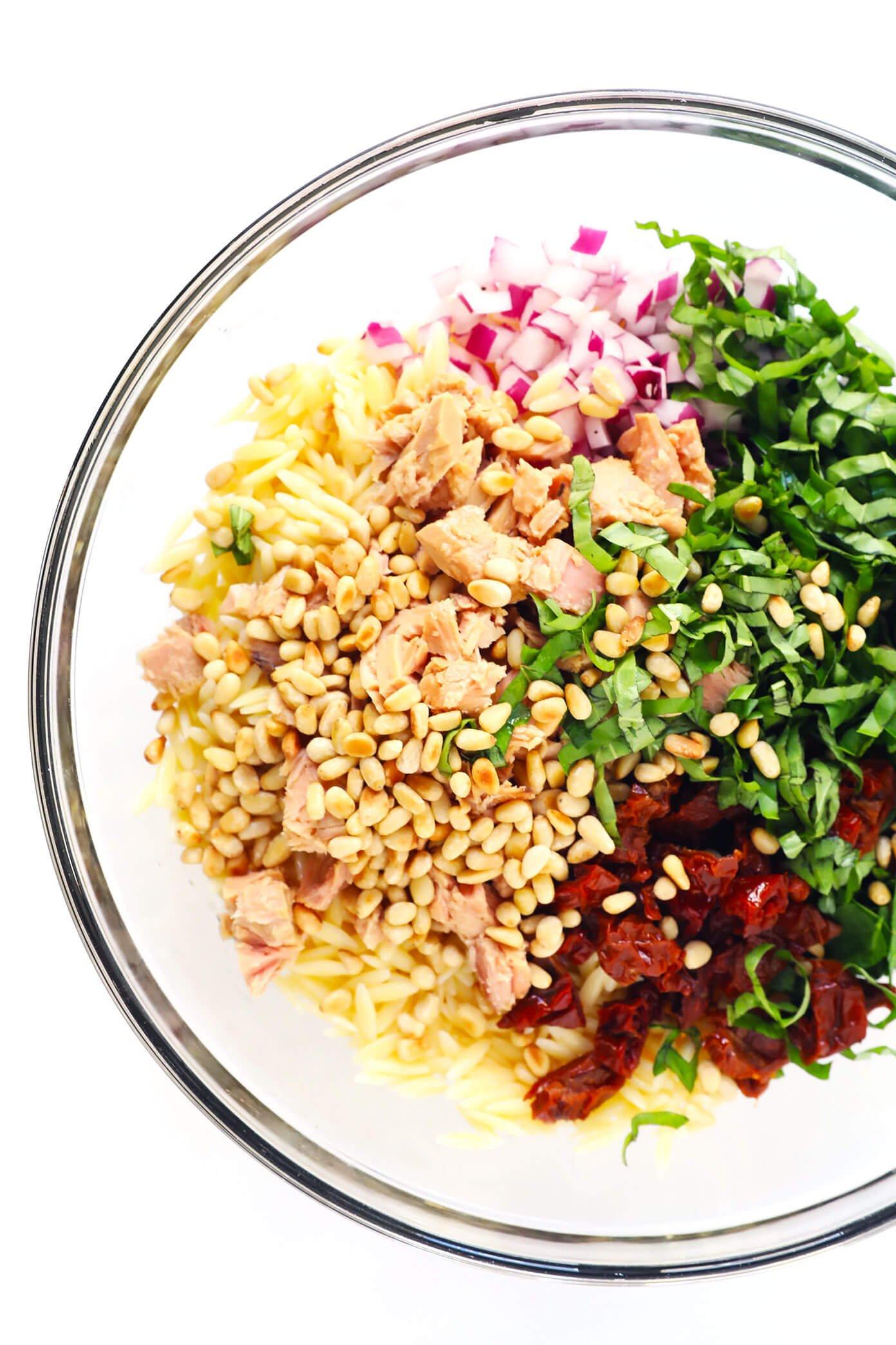 Italian Orzo Tuna Salad Ingredients