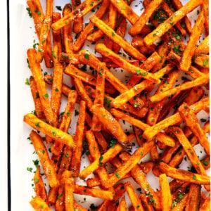 The BEST Crispy Baked Sweet Potato Fries Recipe