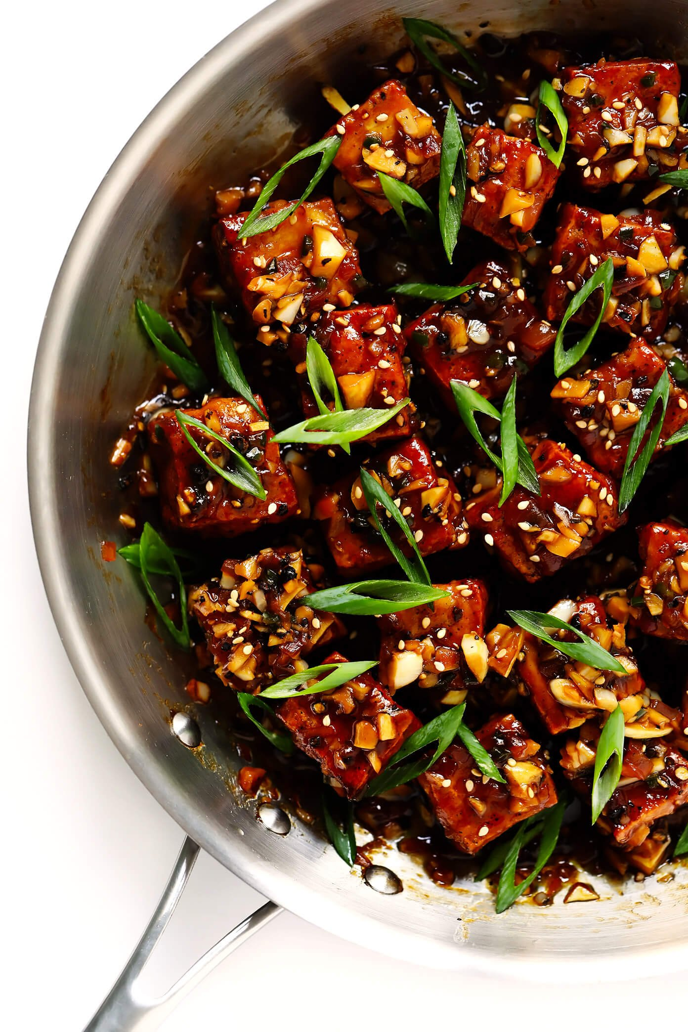 Magic Garlicky Tofu, made with the most delicious black pepper garlic sauce.