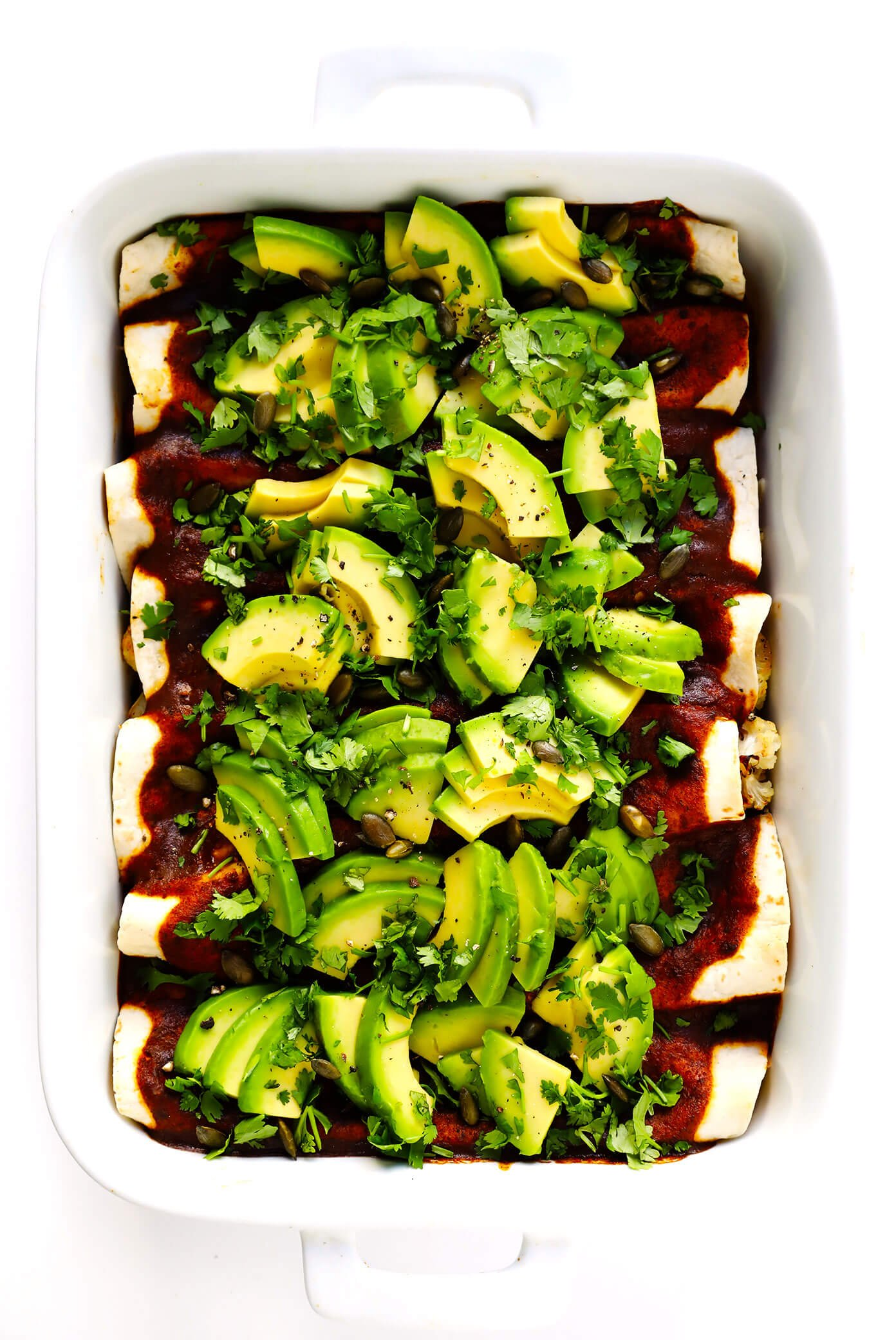Roasted Cauliflower Enchiladas Recipe with Avocado and Cilantro