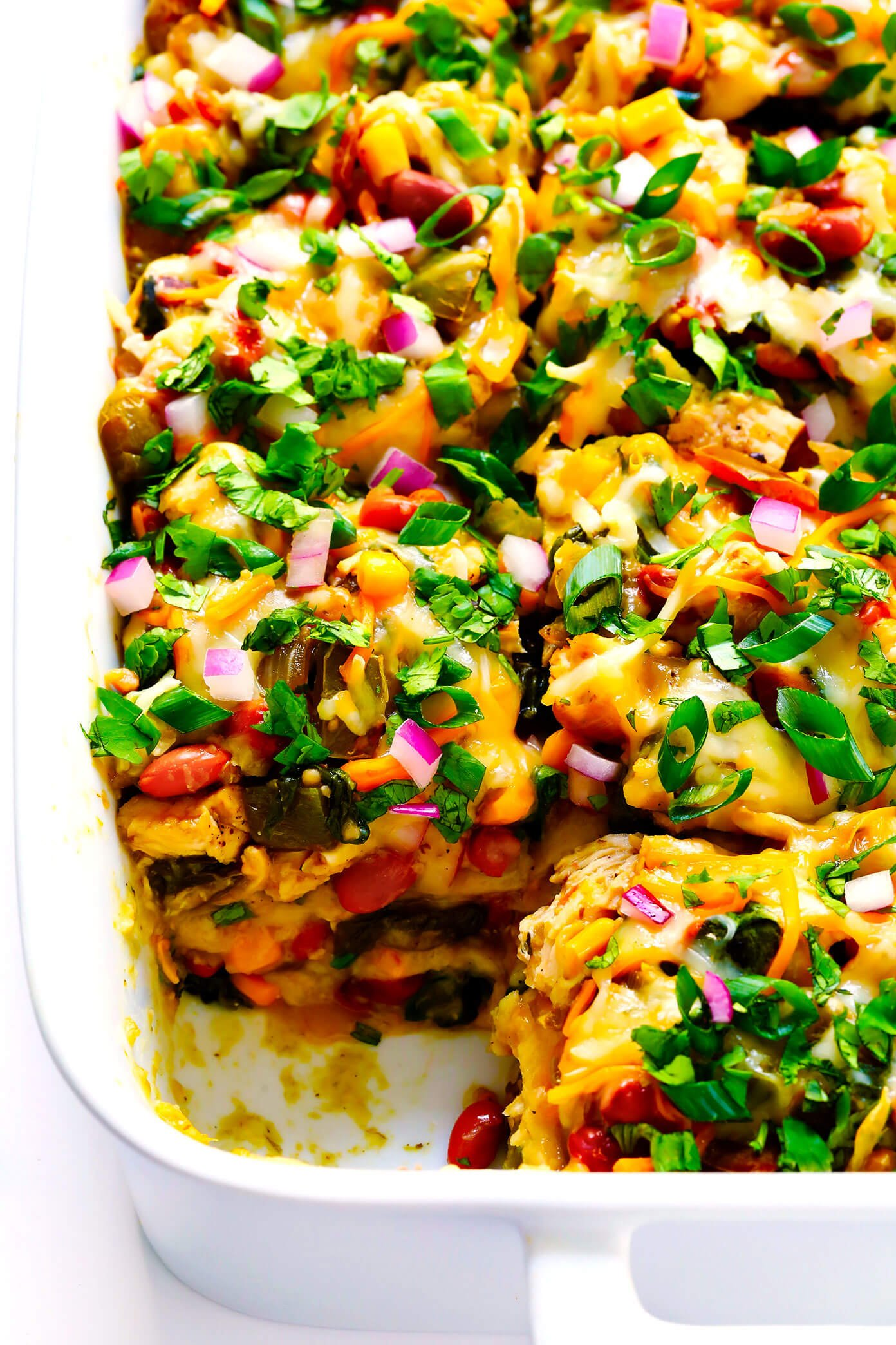 Verde Chicken Enchilada Casserole with Green Enchilada Sauce
