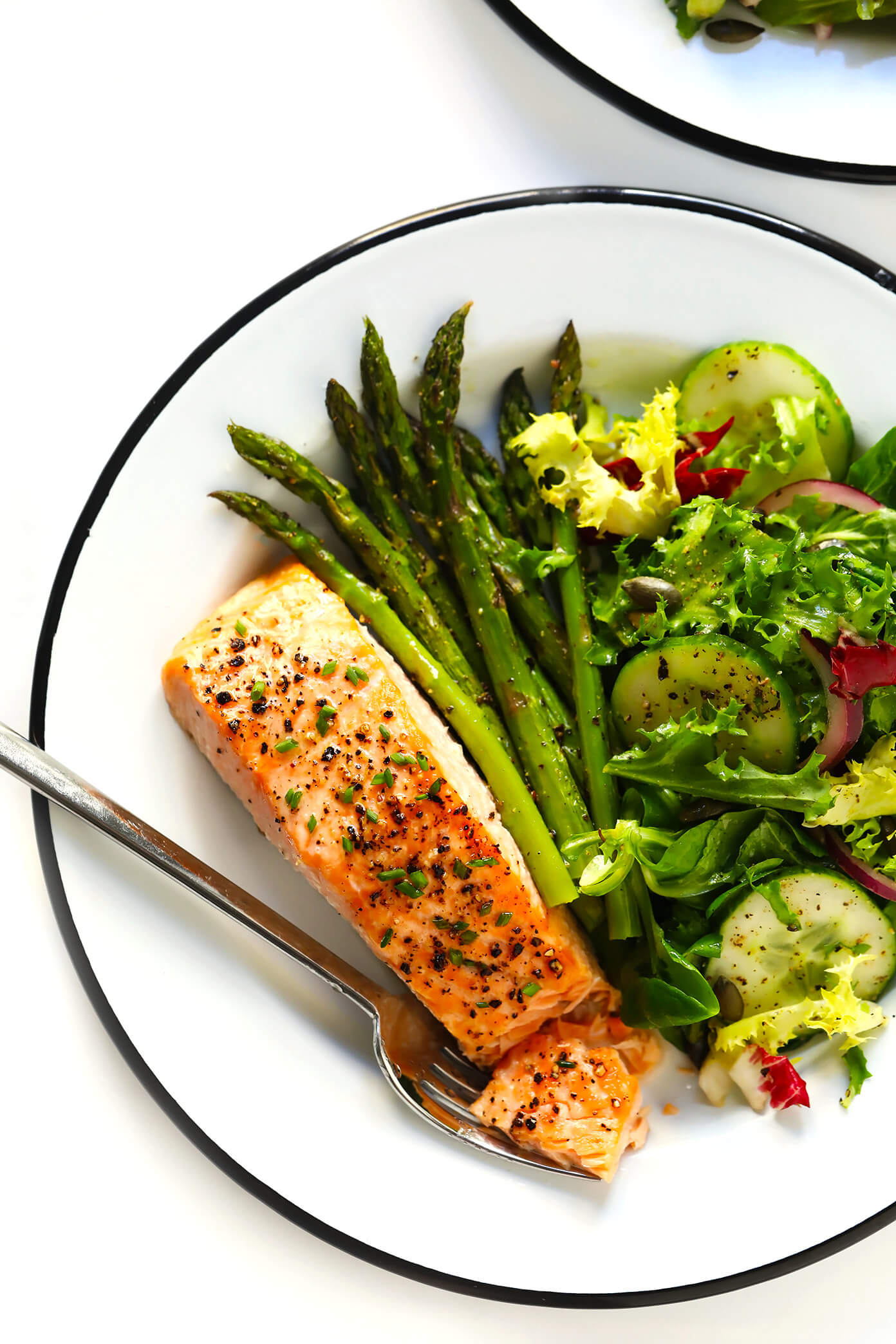 Baked Salmon Recipe with Roasted Asparagus and Everyday Salad