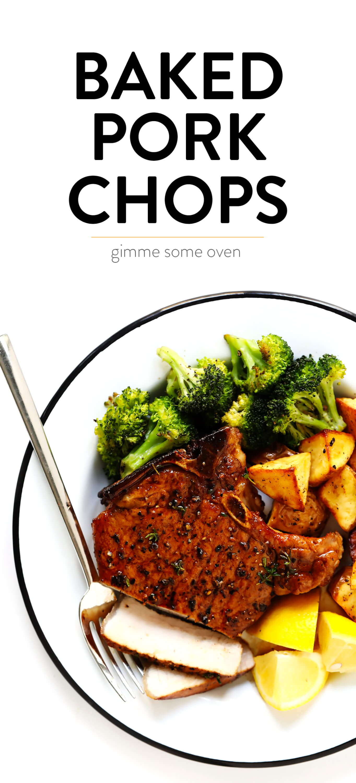 Baked Pork Chops Recipe with Lemon, Roasted Broccoli and Potatoes