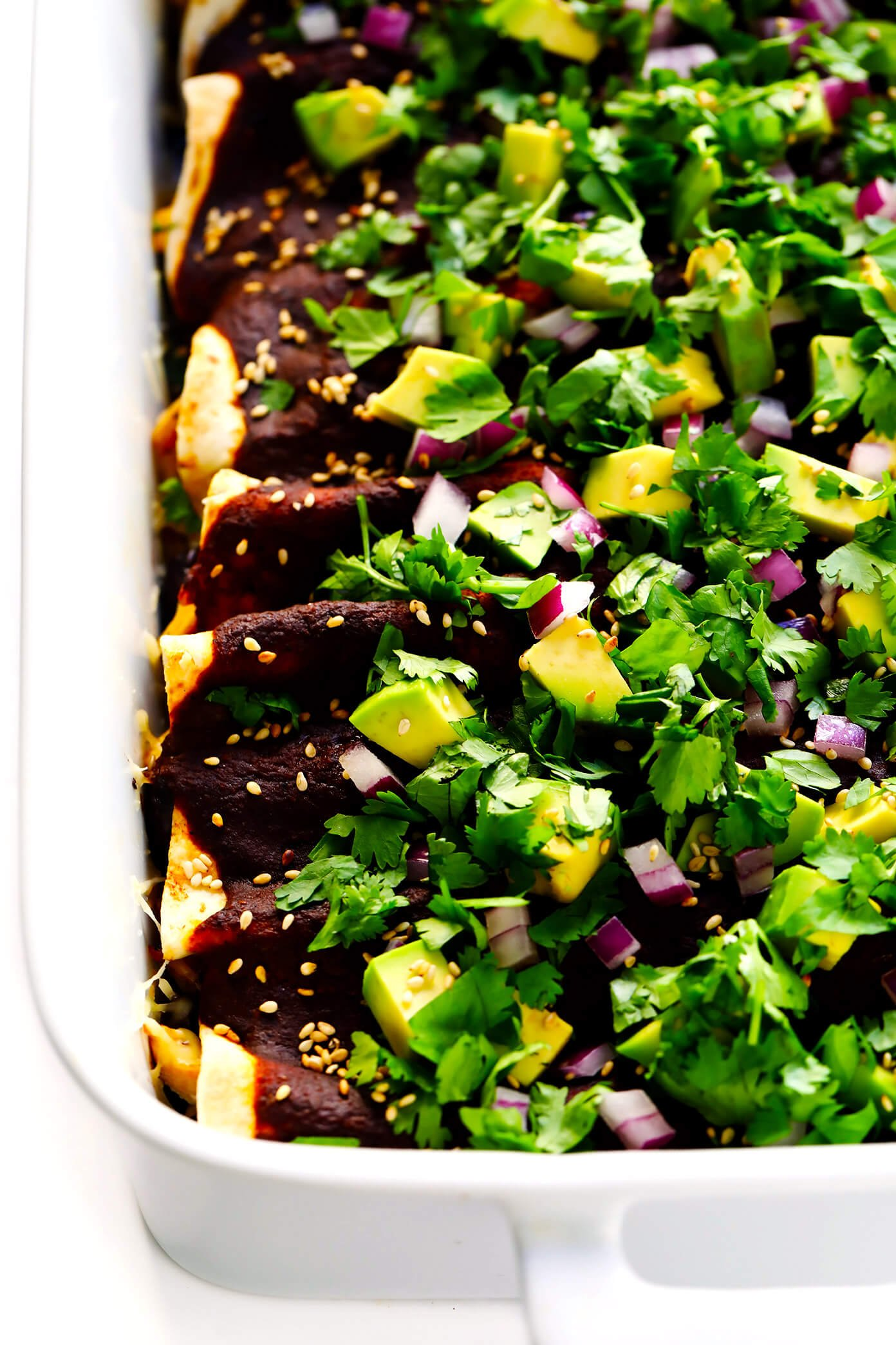Holy Mole Enchiladas   Made with chicken, carnitas, or your choice of vegetarian fillings