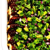 Holy Mole Enchilada | Made with chicken, pork, or your choice of vegetarian fillings