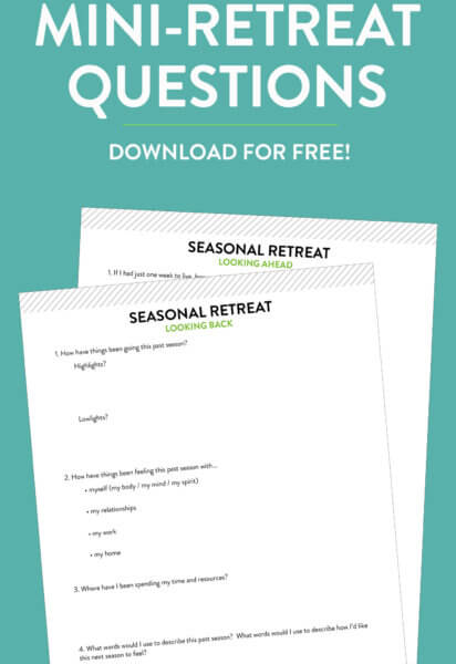 Seasonal Personal Mini-Retreat Questions | Available for free download