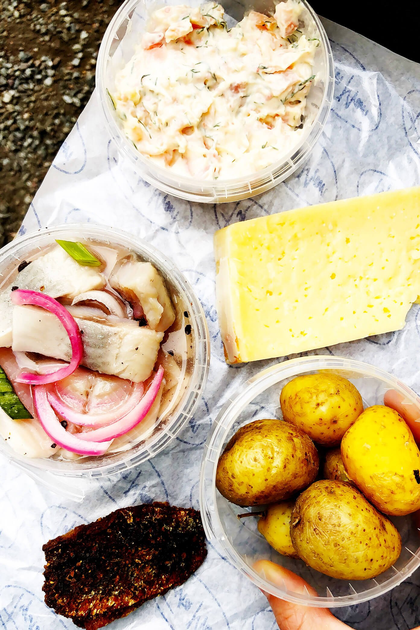 Pickled Herring, Smoked Salmon Dip, Cheese, and Boiled Potatoes | Stockholm, Sweden