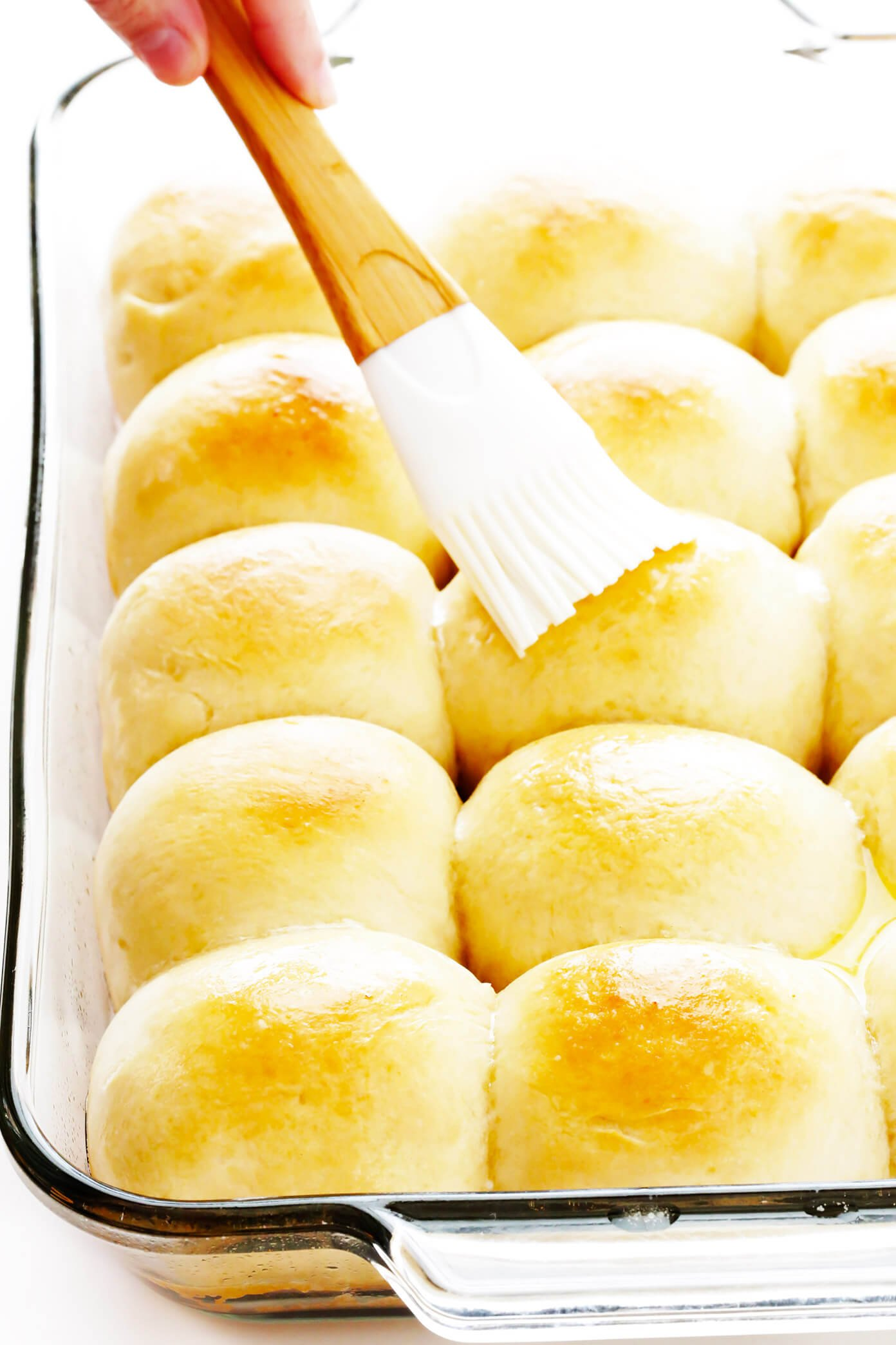 Brushing Dinner Rolls with Melted Butter
