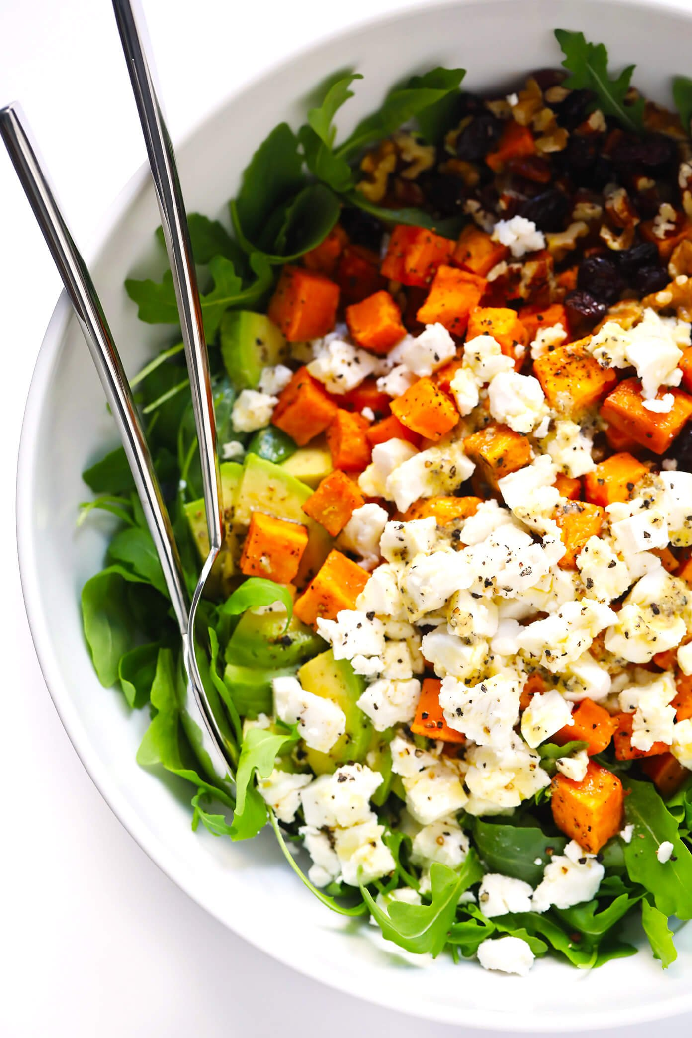 Feel-Good Fall Salad with Sweet Potato, Avocado, Goat Cheese and Lemon Dressing