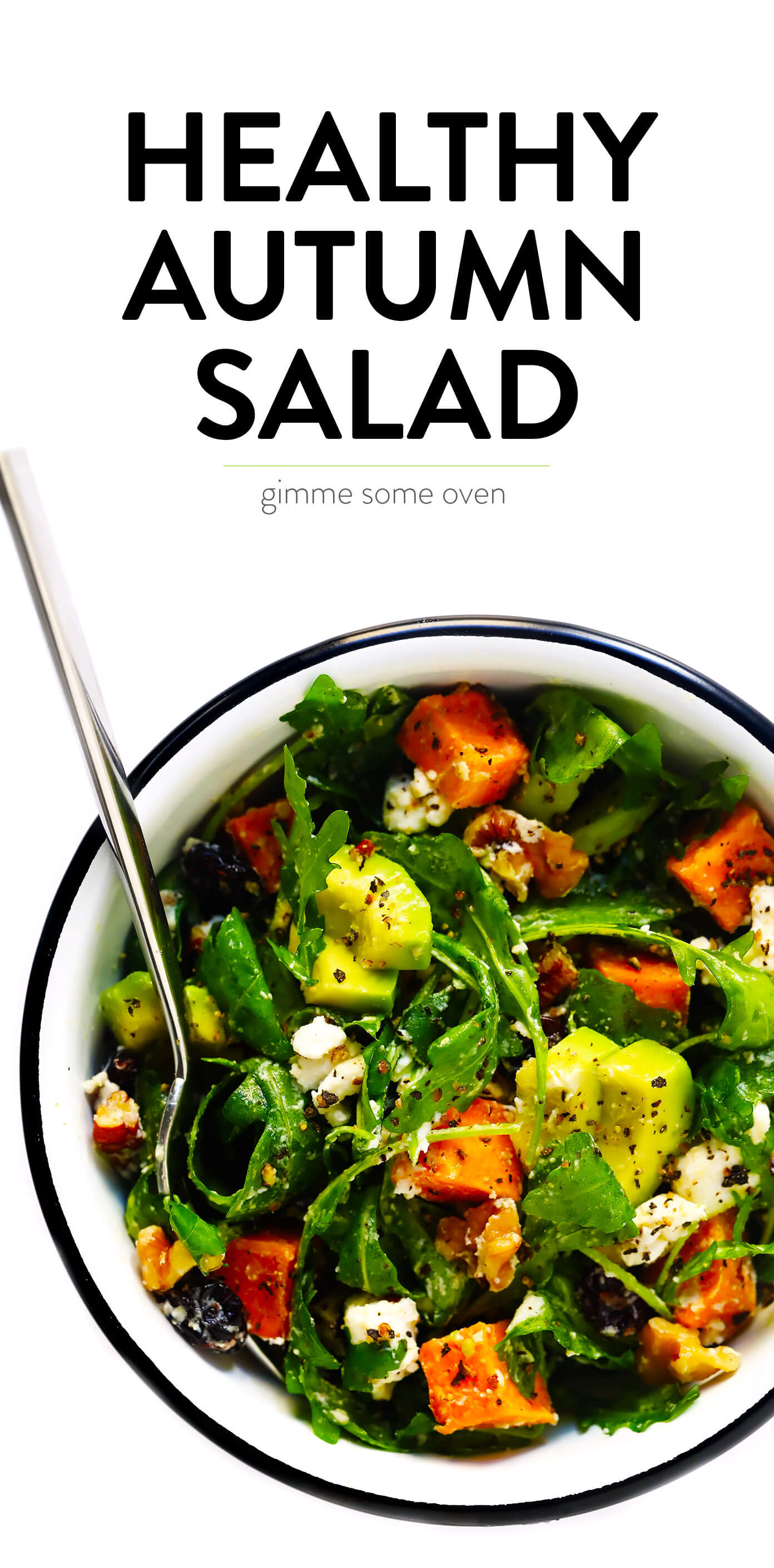 Healthy Autumn Harvest Salad Recipe with Sweet Potato, Avocado, Goat Cheese and Lemon Dressing