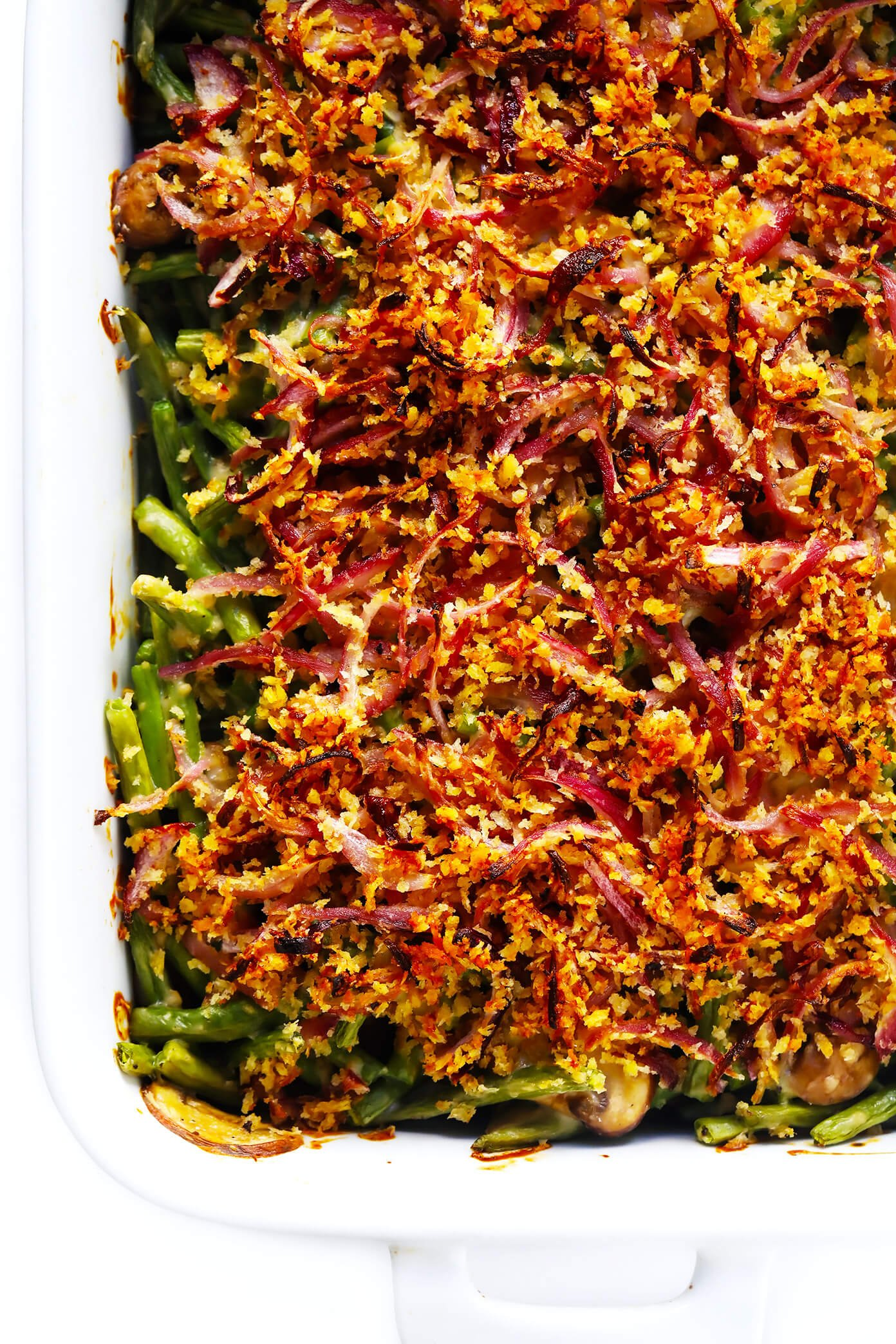Healthy Green Bean Casserole with Crispy Onion Topping