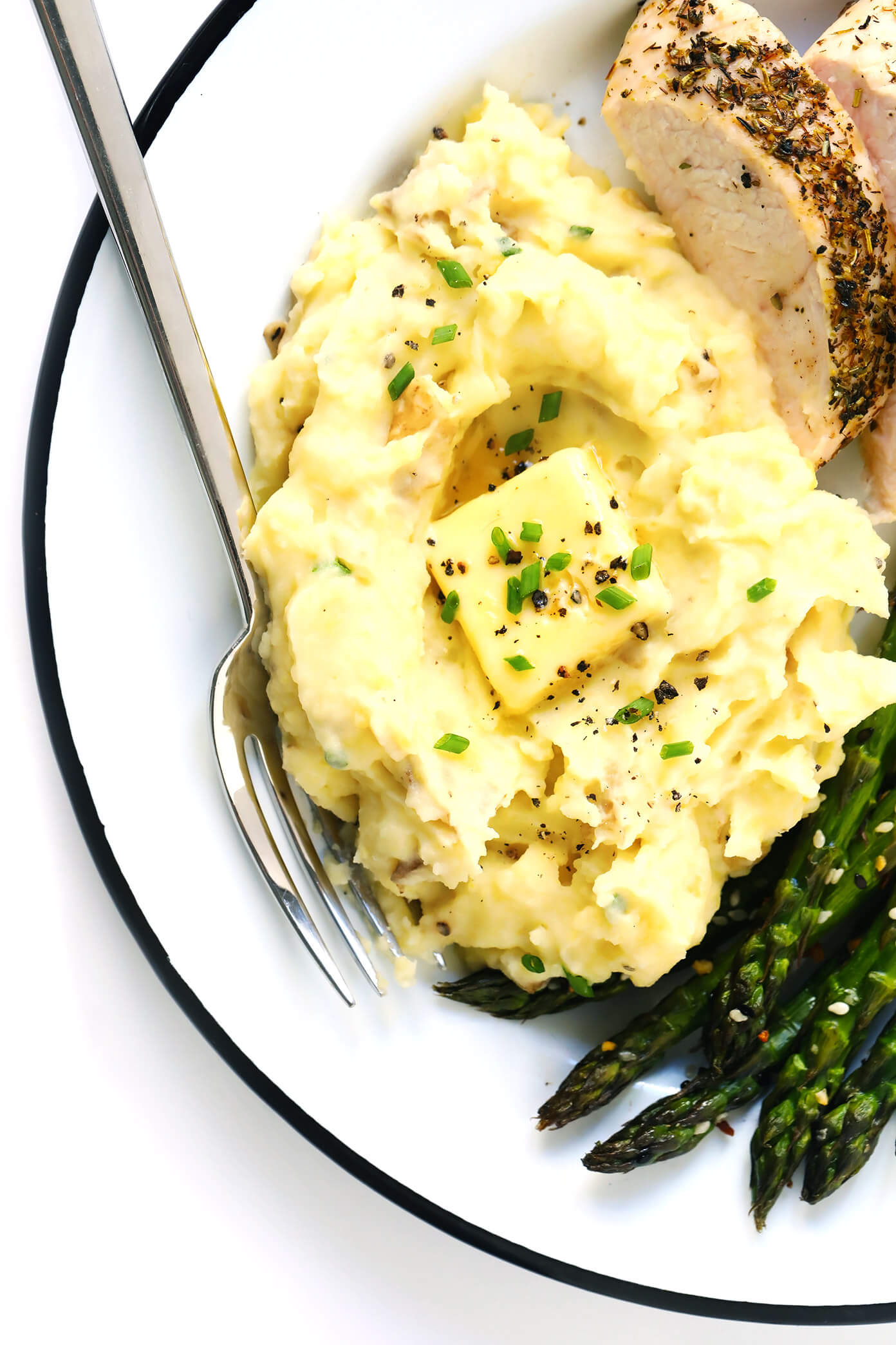 Thanksgiving Mashed Potatoes with Turkey and Roasted Asparagus
