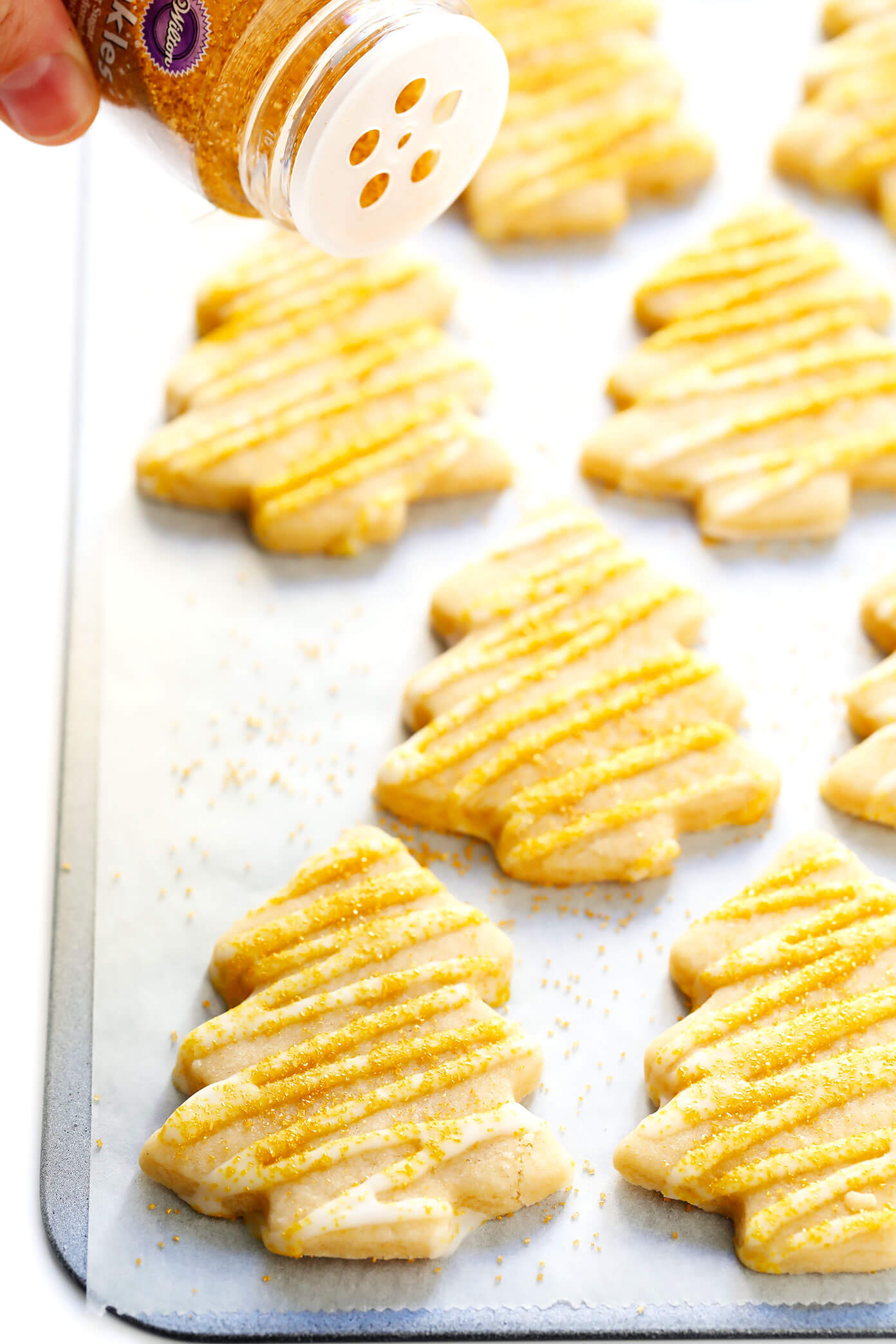 Brown Sugar Cookie Christmas Trees with Gold Sprinkles