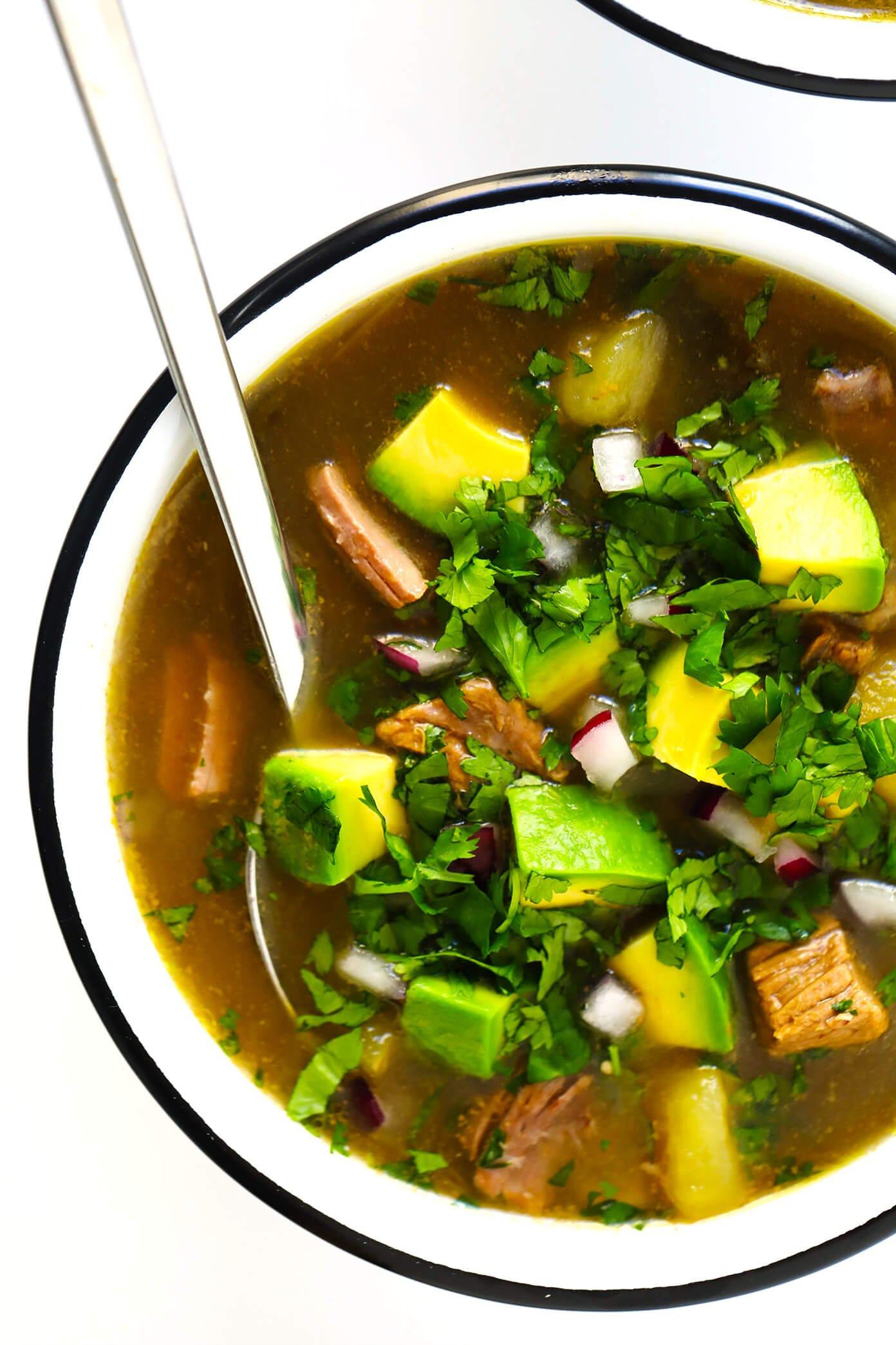 Salsa Verde Steak Soup with Avocado and Cilantro