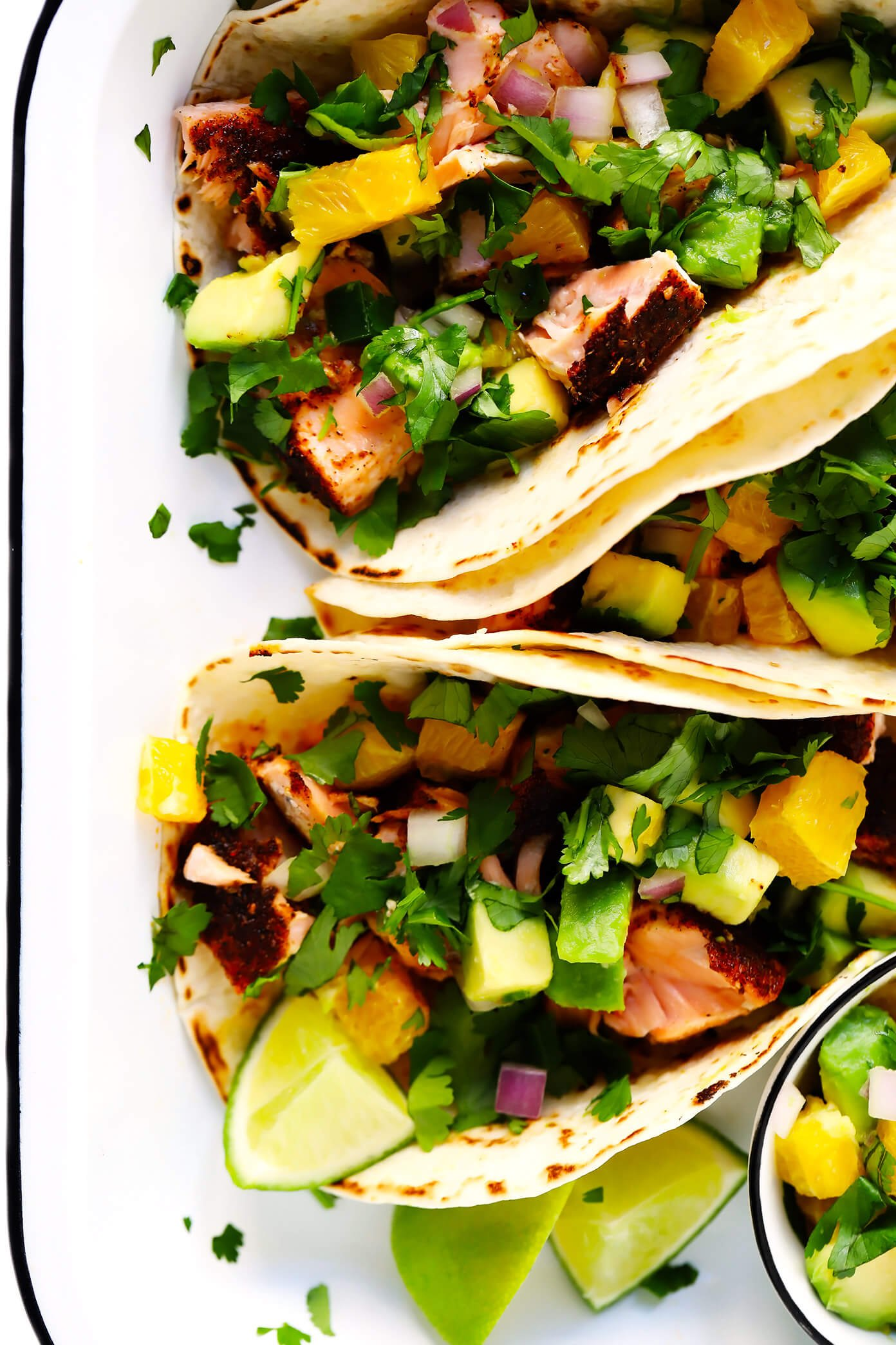 Salmon Tacos with Orange Avocado Salsa