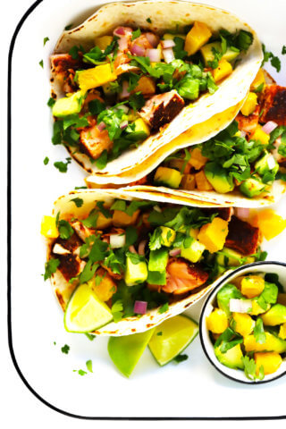 Super-Simple Salmon Tacos with Juicy Orange Avocado Salsa