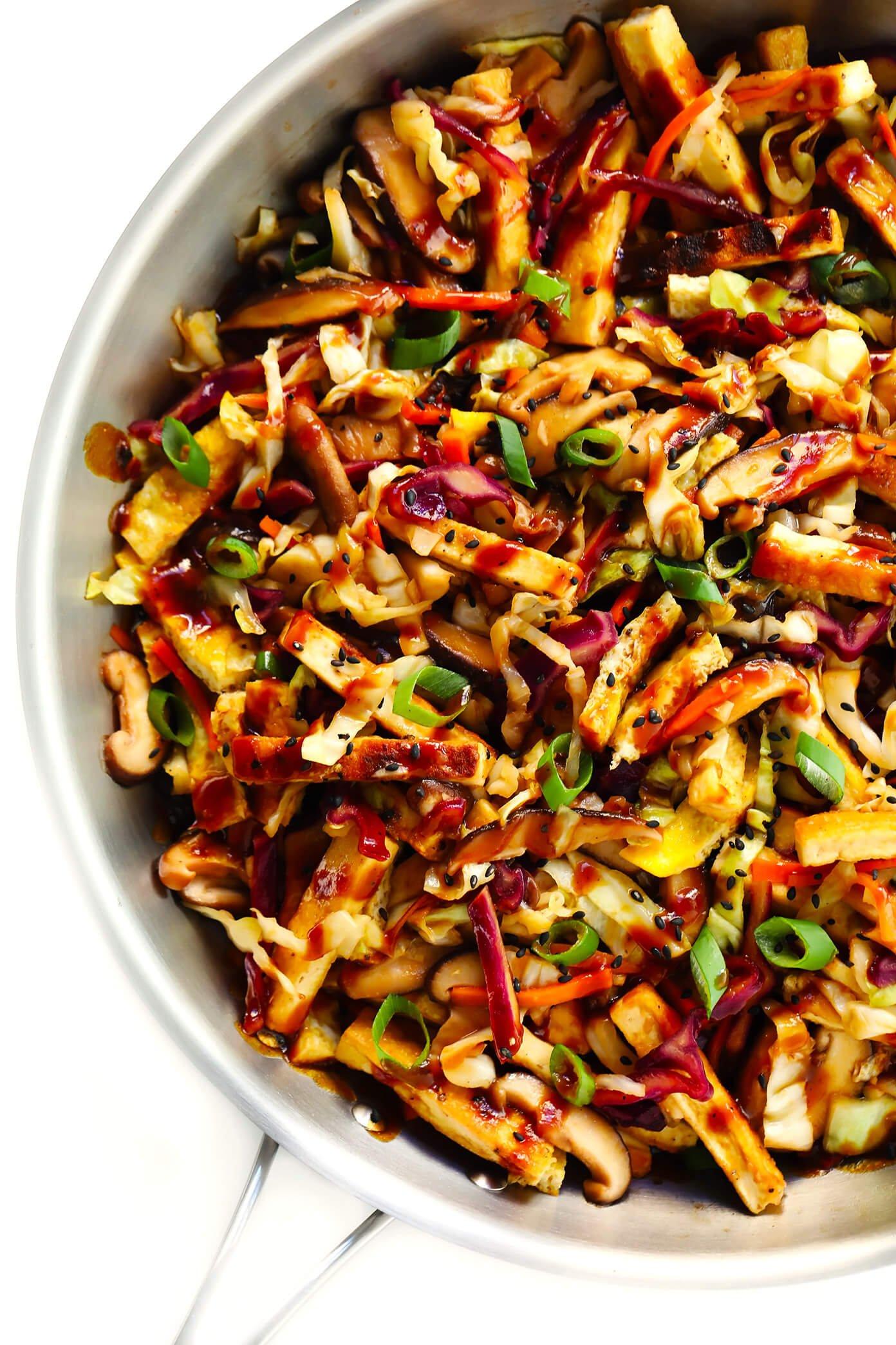 Vegetarian Moo Shu with Crispy Tofu