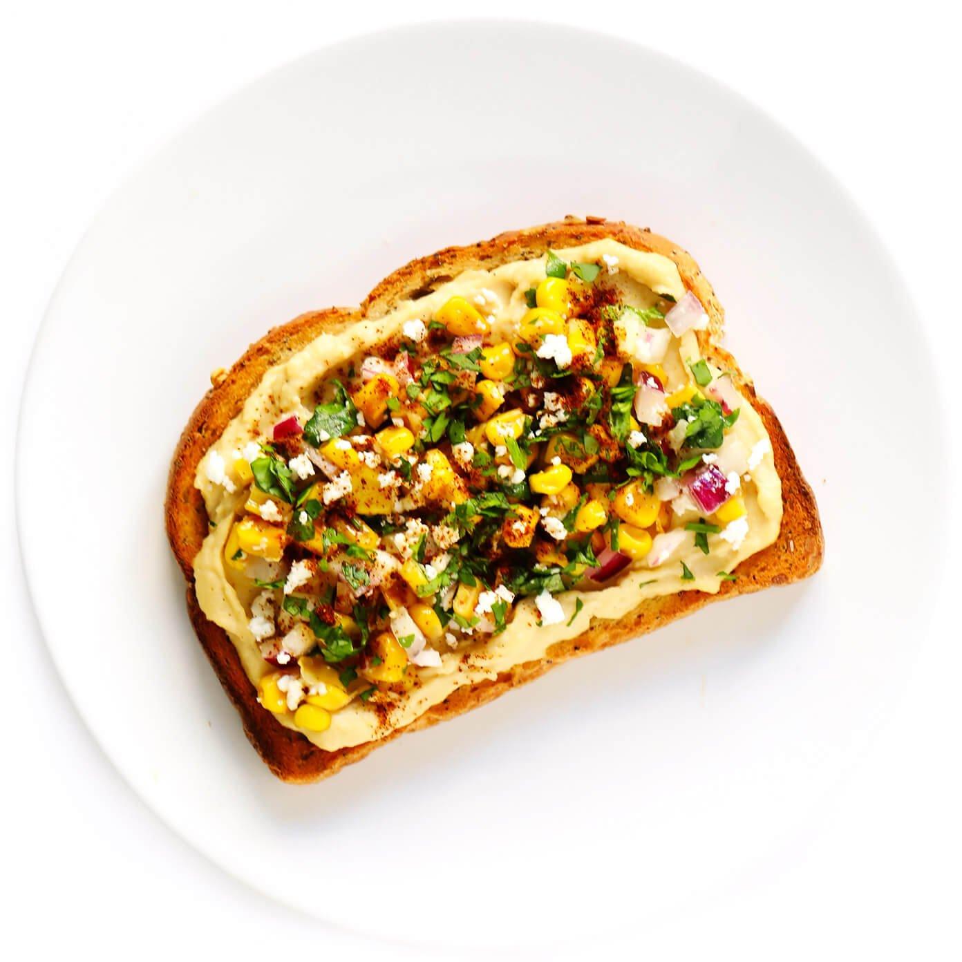Elote (Mexican Street Corn) Hummus Toast