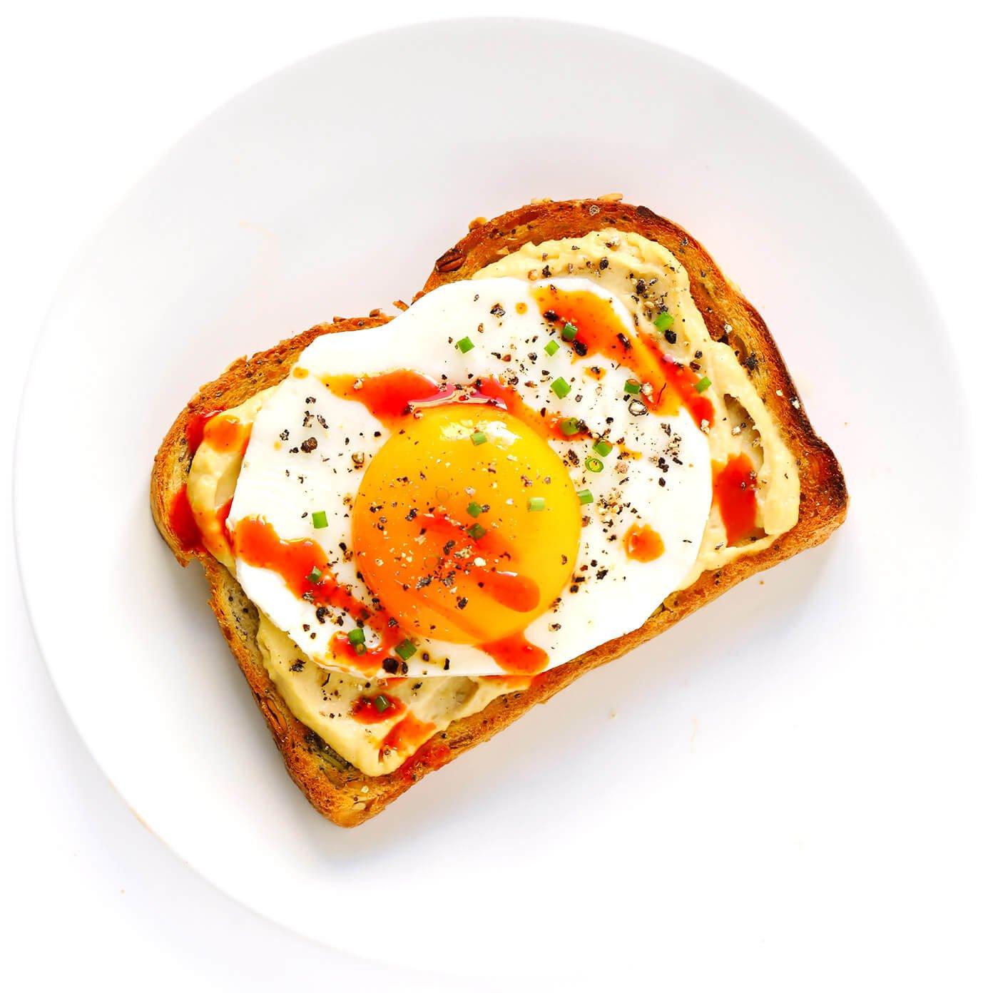 Fried Egg Hummus Toast