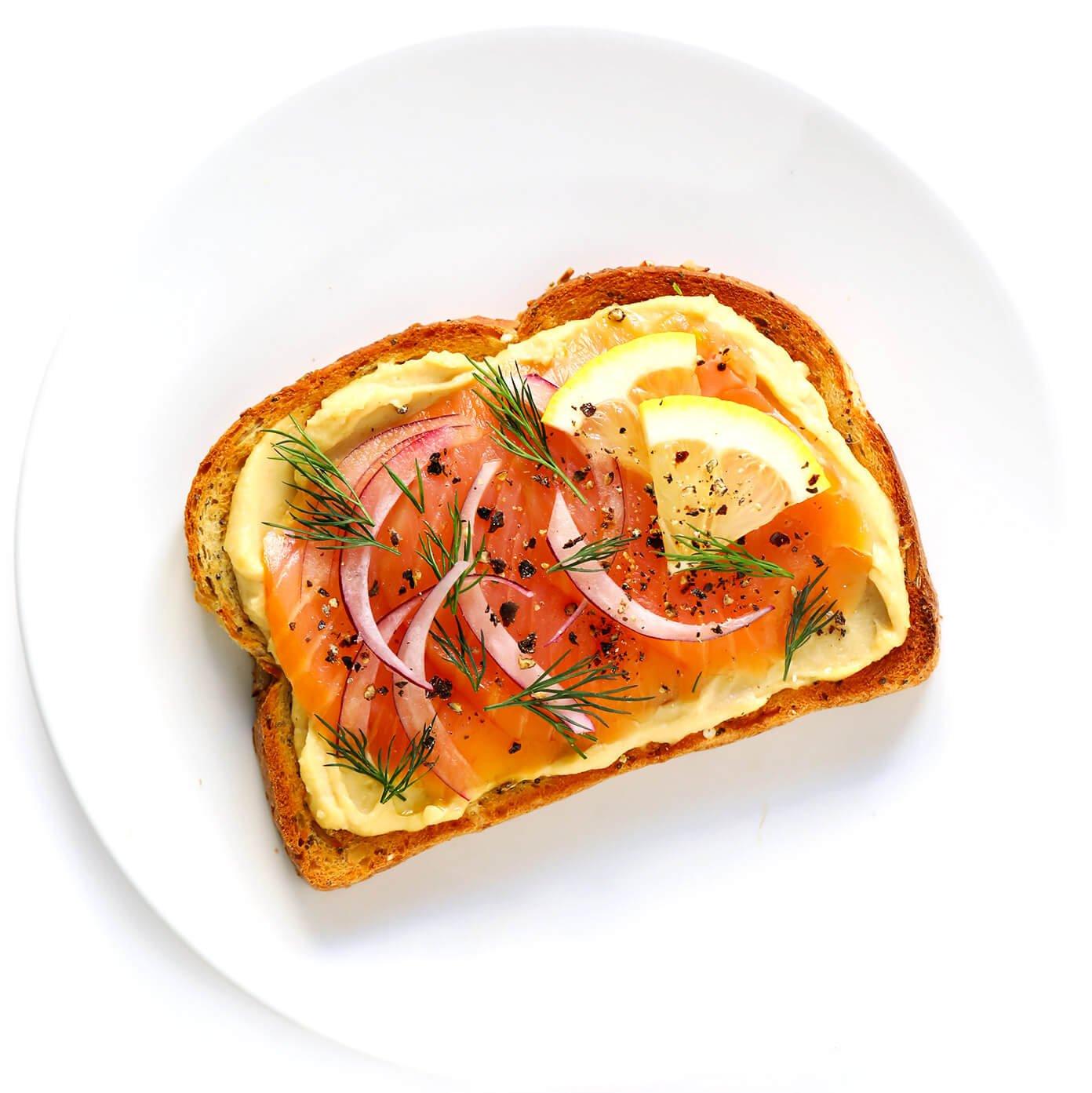 Smoked Salmon (Lox) Hummus Toast