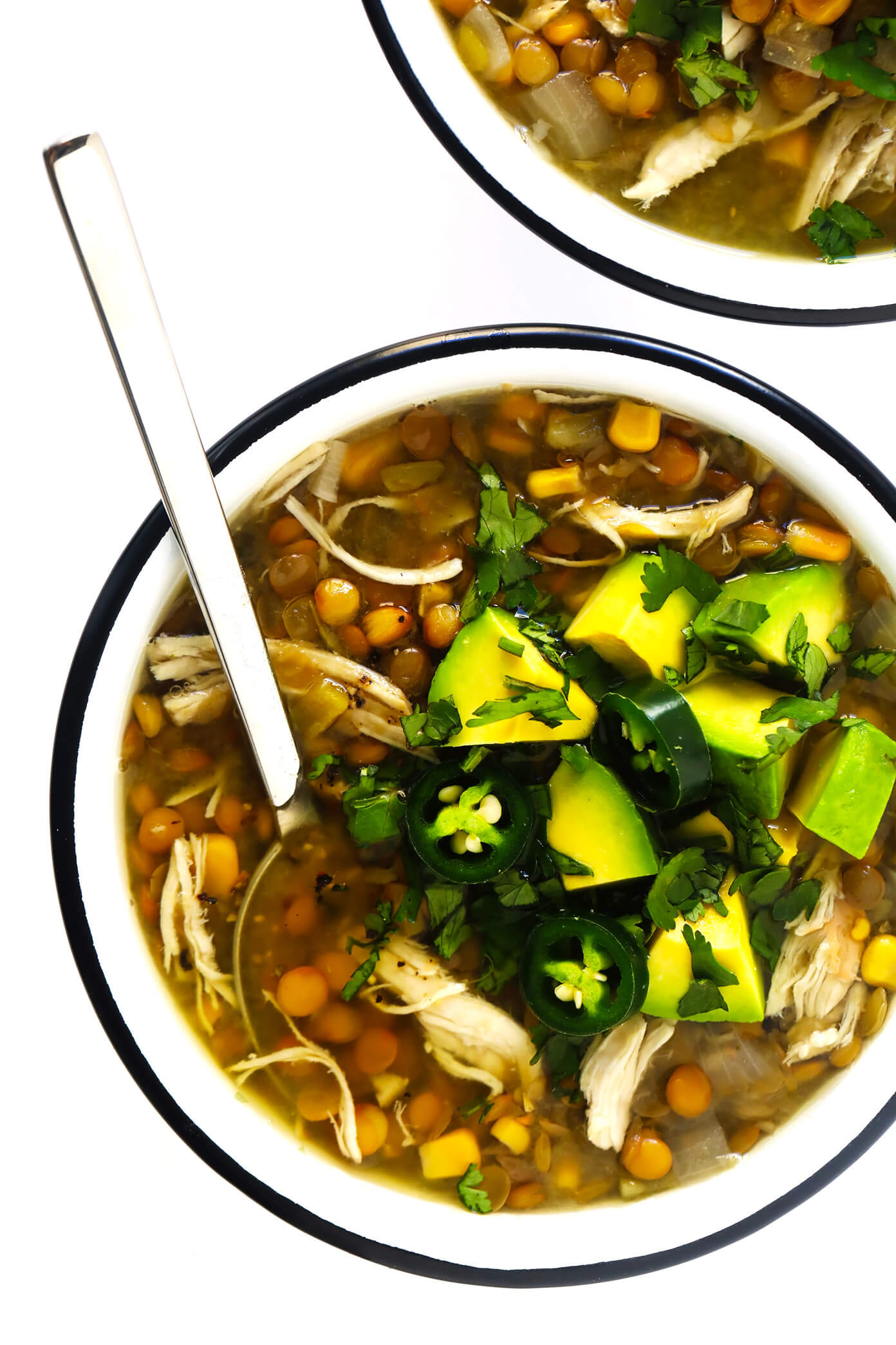 Mexican Chicken Lentil Soup with Avocado