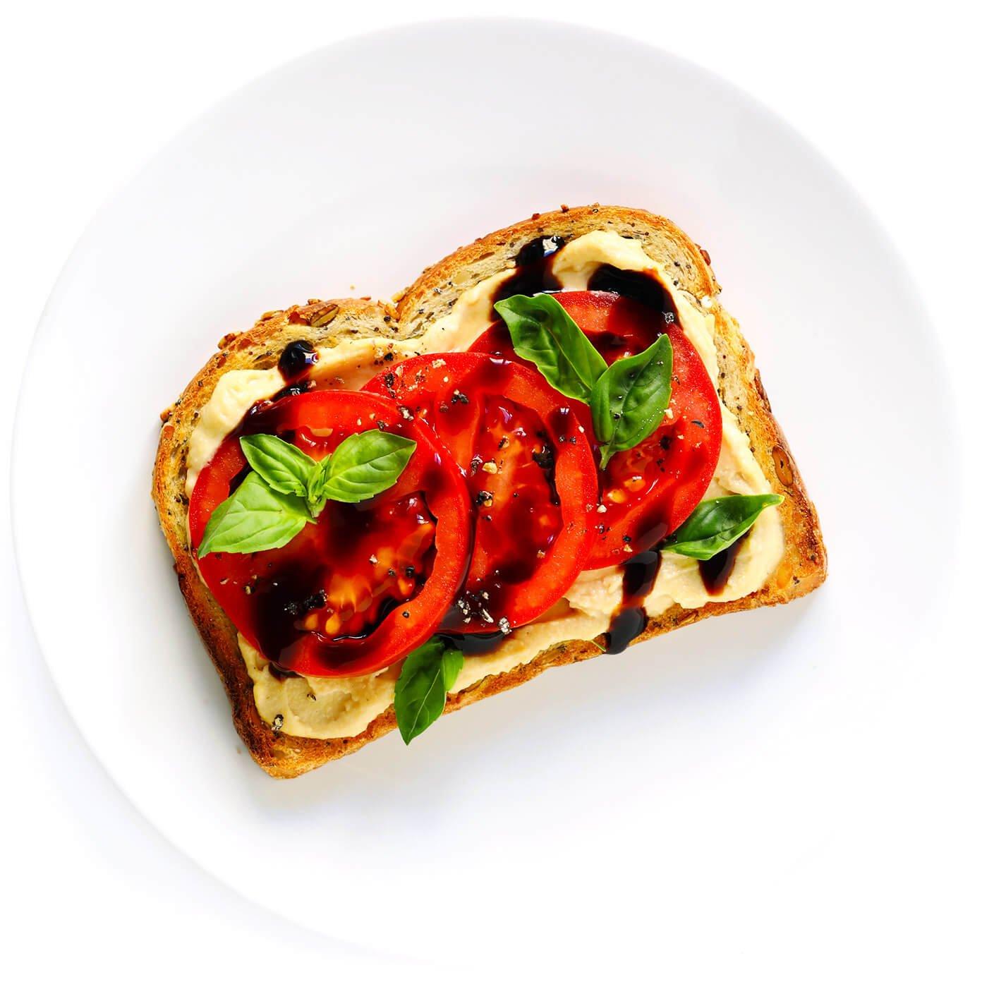 Tomato Basil Hummus Toast